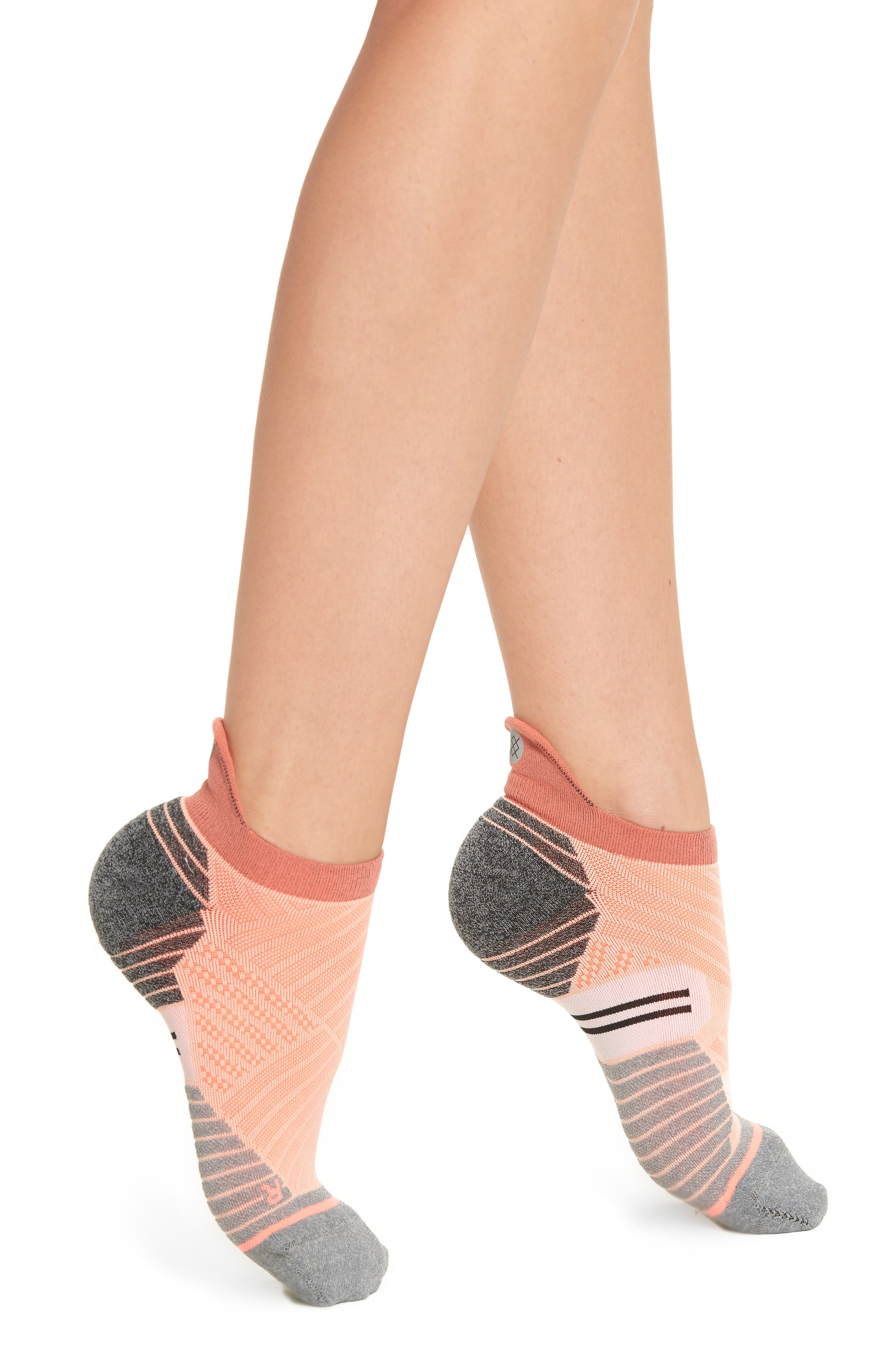 Valley Tab Running Socks,                             Main thumbnail 1, color,                             Peach
