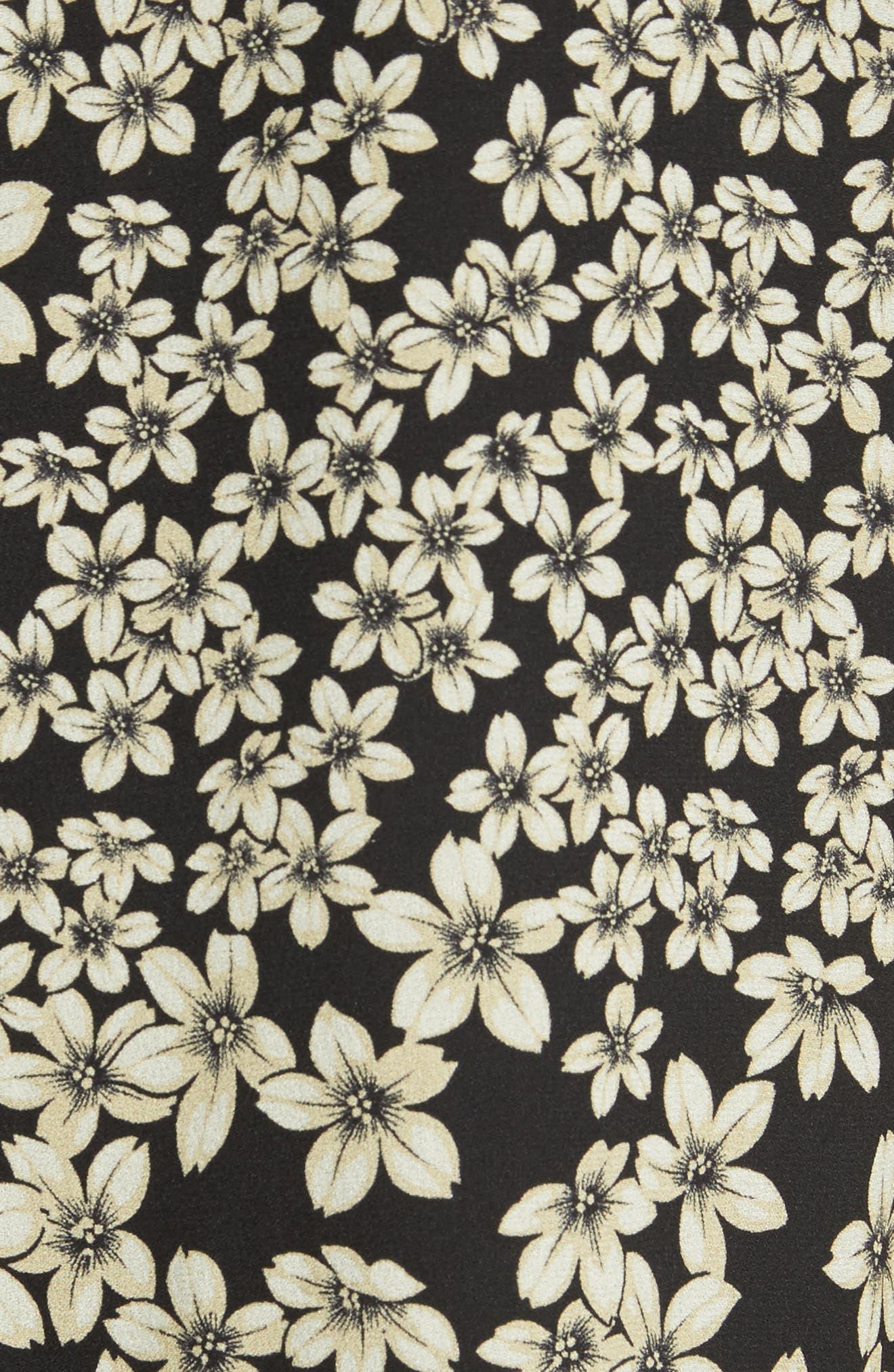 Freda Floral Print Silk Shirtdress,                             Alternate thumbnail 5, color,                             True Black Multi