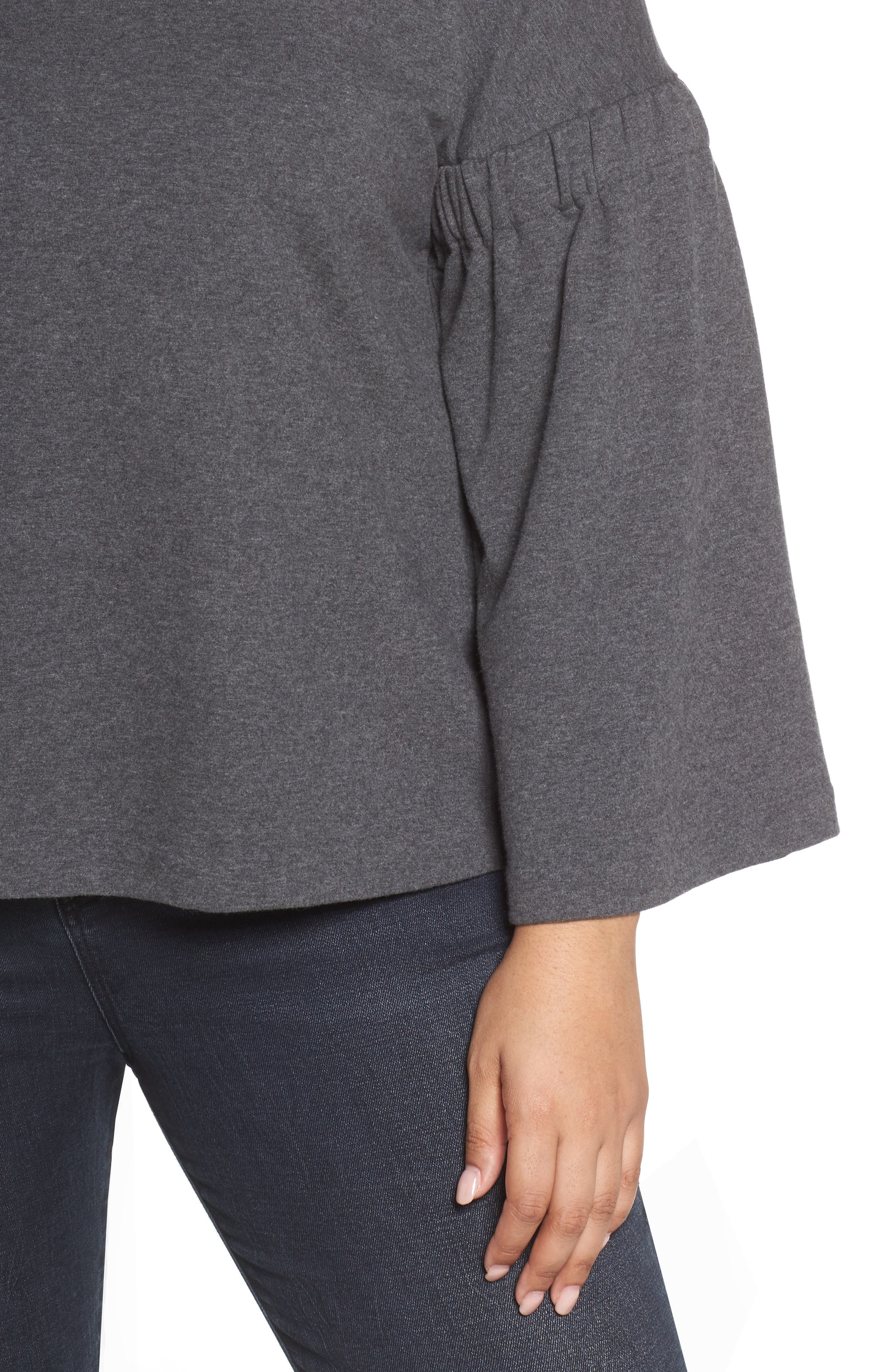 Bell Sleeve Top,                             Alternate thumbnail 4, color,                             Med Heather Grey