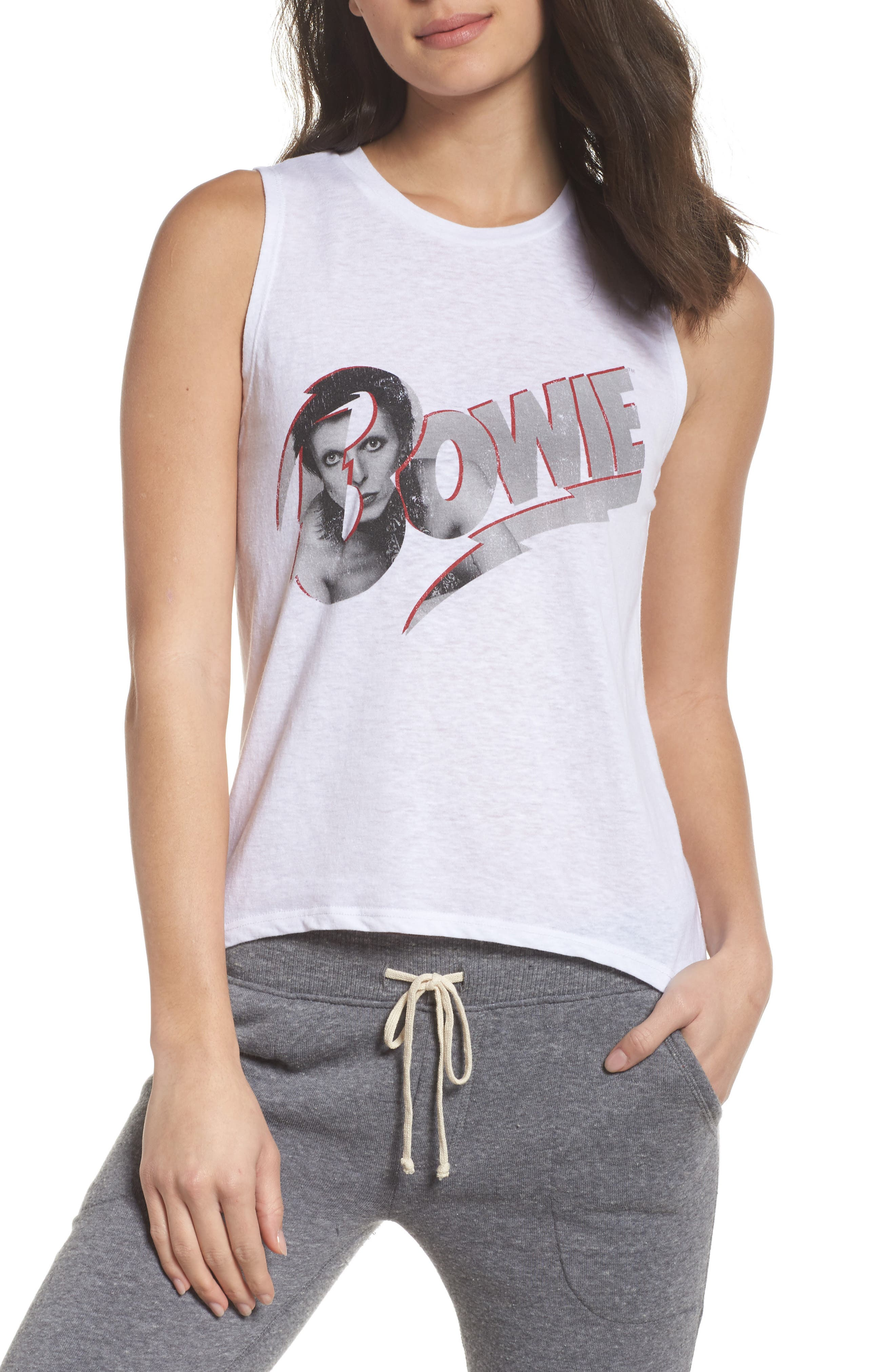 David Bowie High/Low Muscle Tank,                             Main thumbnail 1, color,                             White