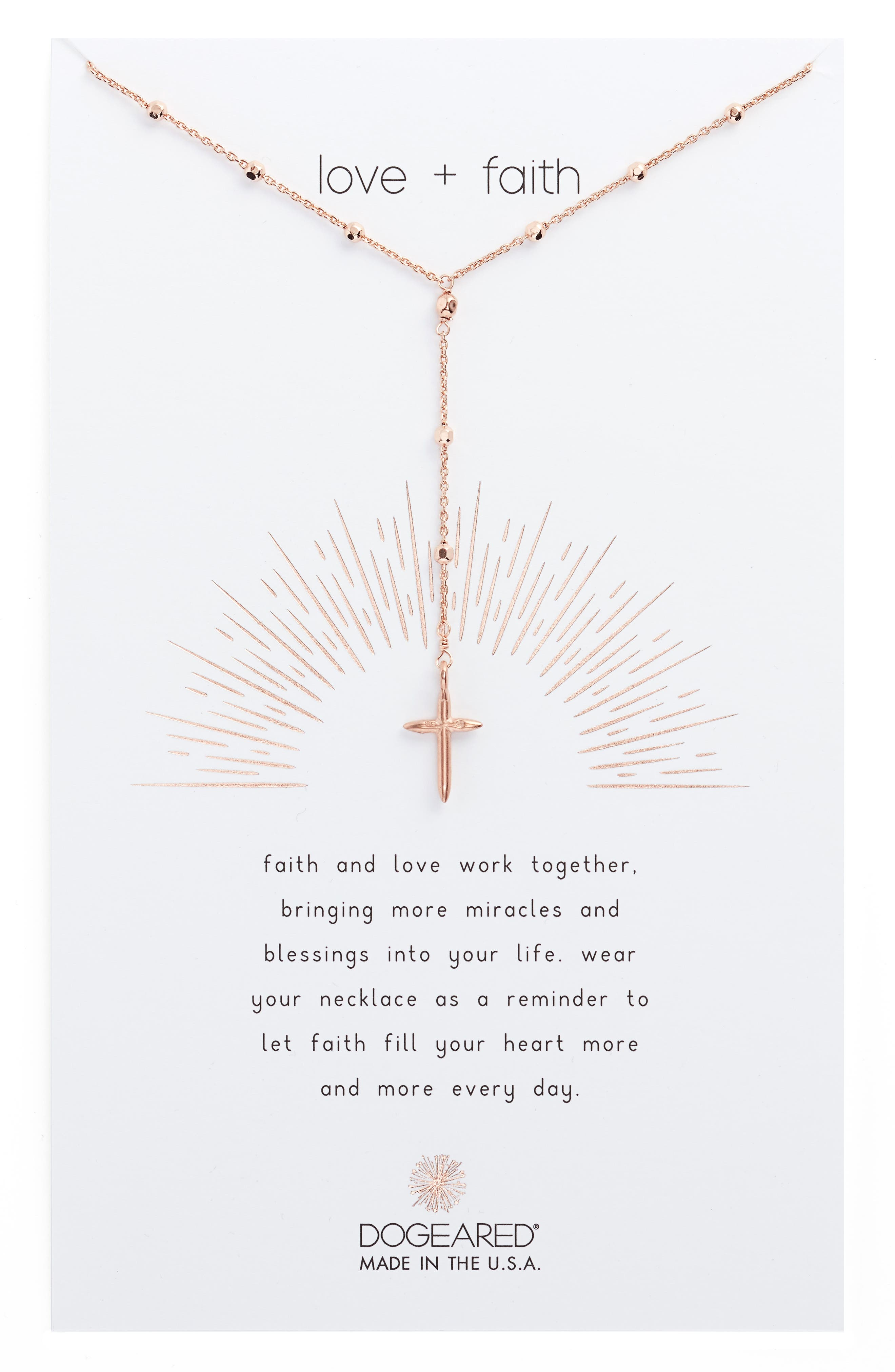 Love & Faith Rosary Y-Necklace,                         Main,                         color, Rose Gold