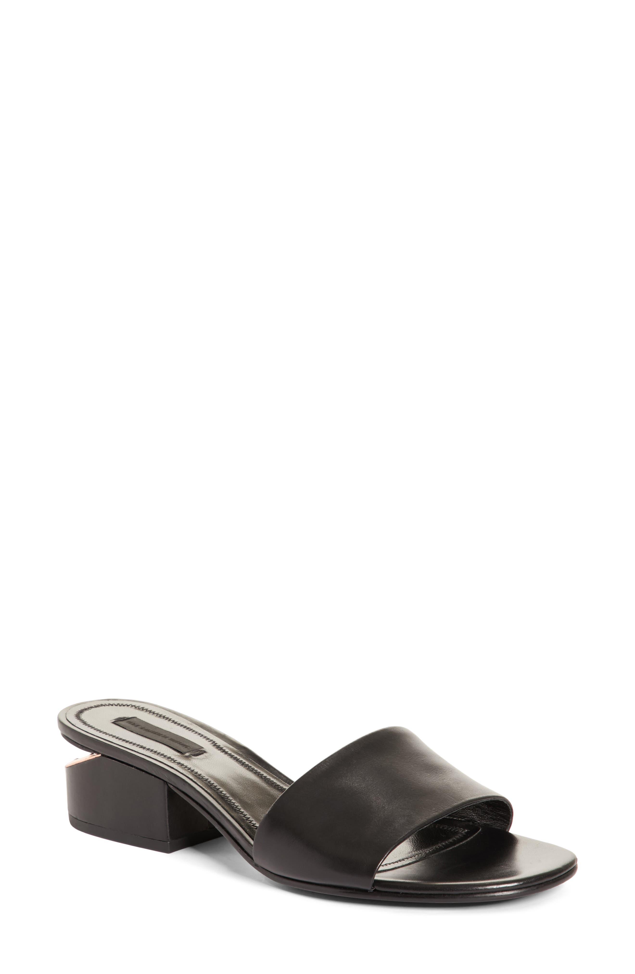 Lou Slide Sandal,                             Main thumbnail 1, color,                             Black/ Rose Gold