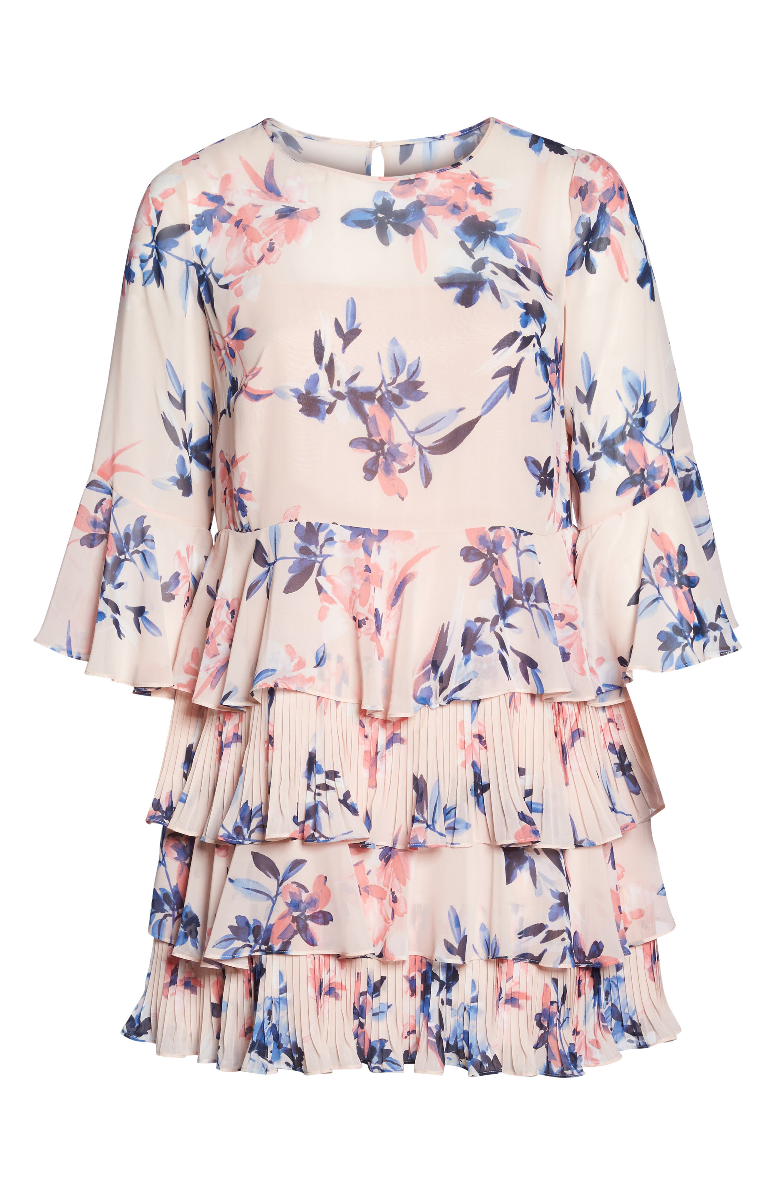 Bell Sleeve Tiered Ruffle Dress,                             Alternate thumbnail 7, color,                             Blush