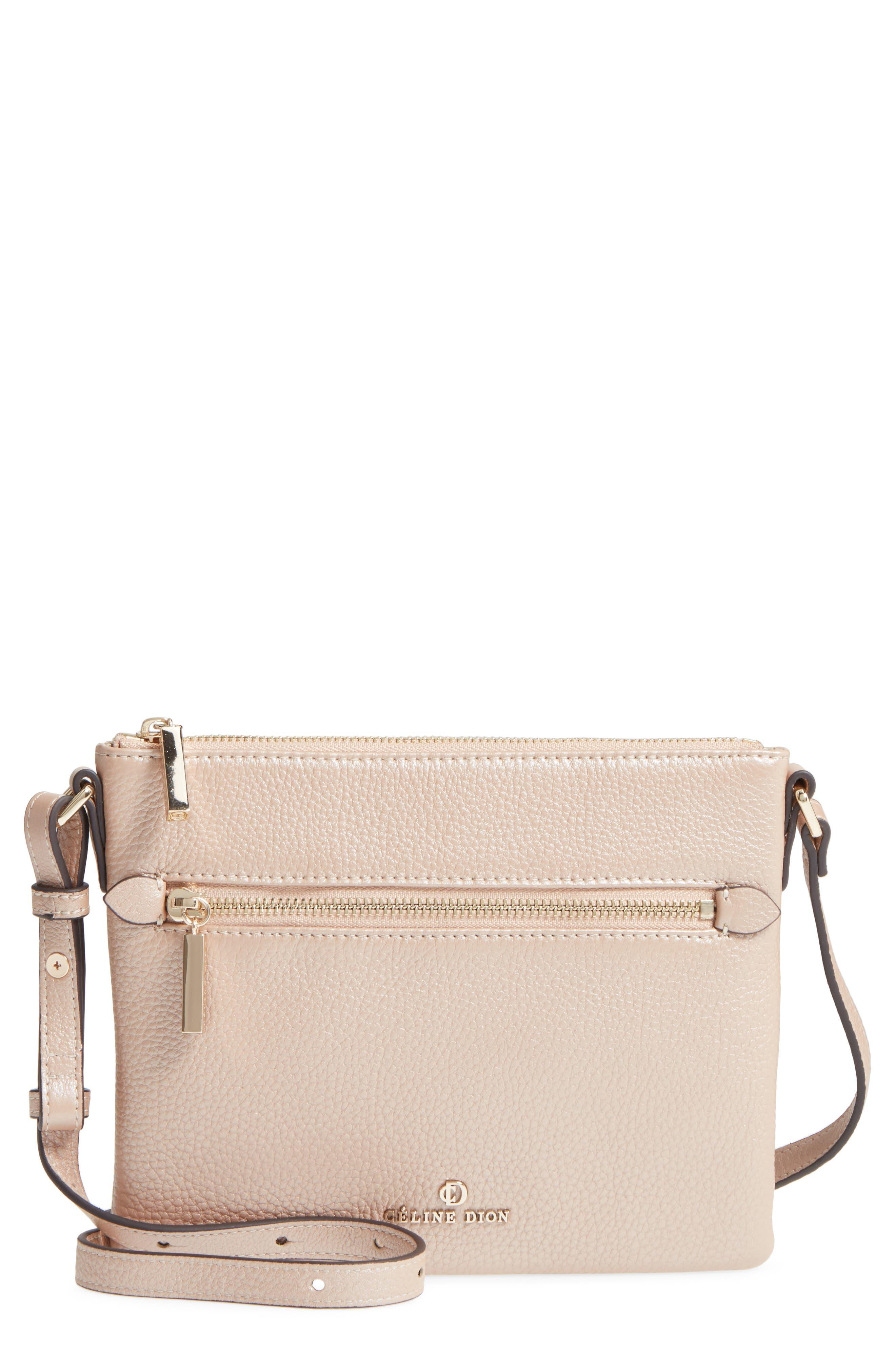 Céline Dion Adagio Leather Crossbody Bag,                             Main thumbnail 1, color,                             Rose Gold
