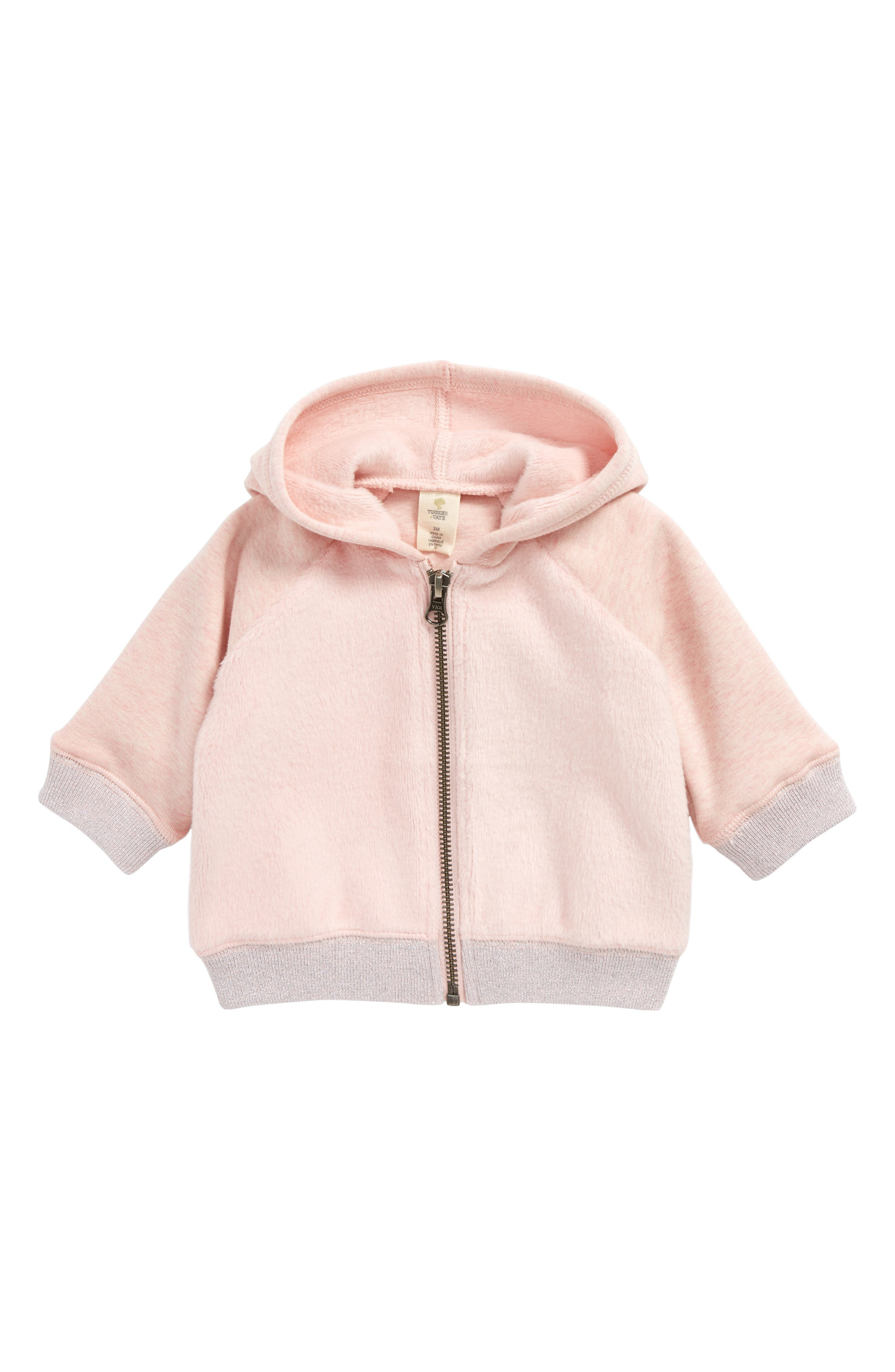 Cozy Zip-Up Hoodie,                             Main thumbnail 1, color,                             Pink Silver