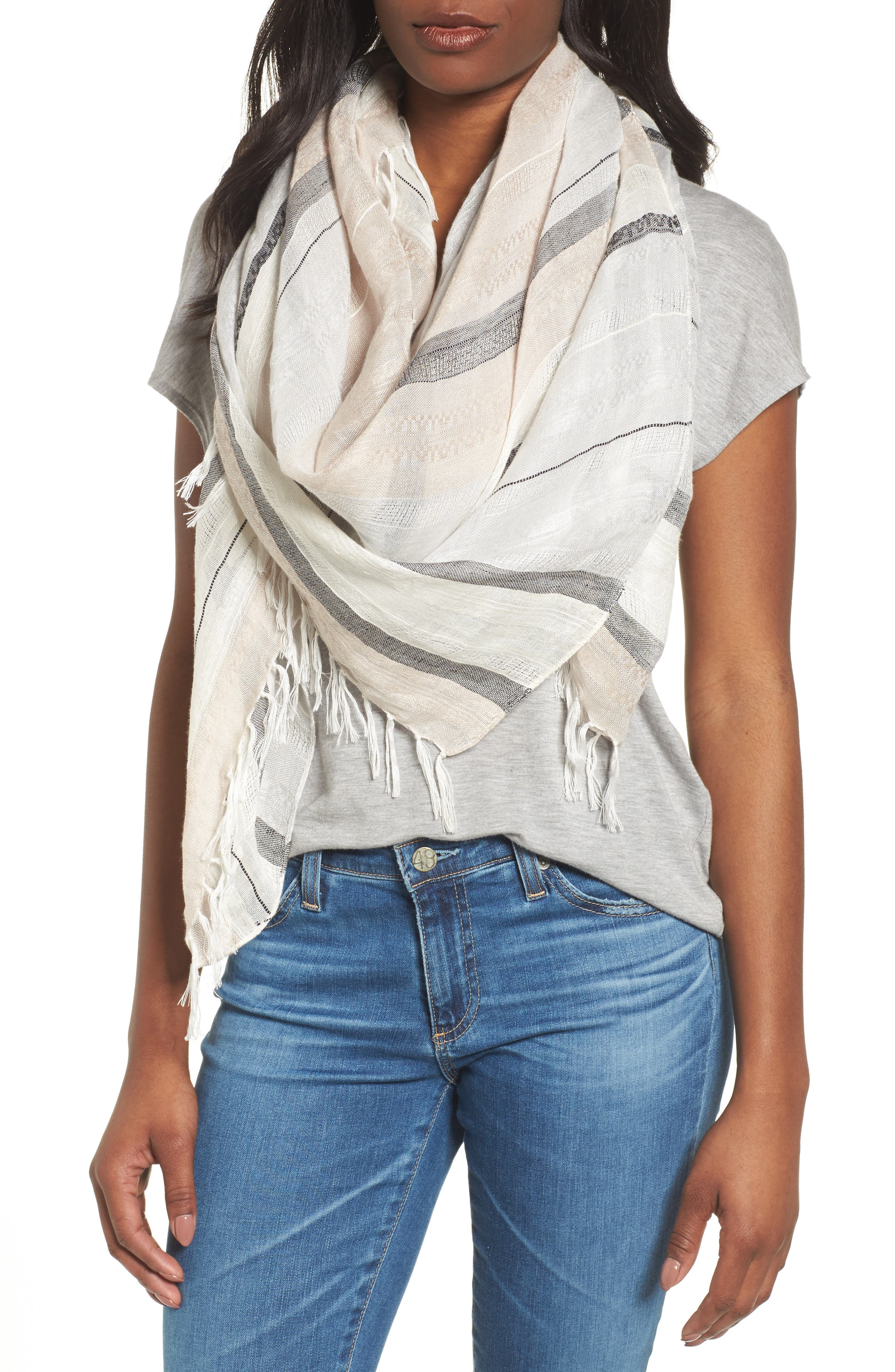 Stripe Scarf,                         Main,                         color, Grey- Combo