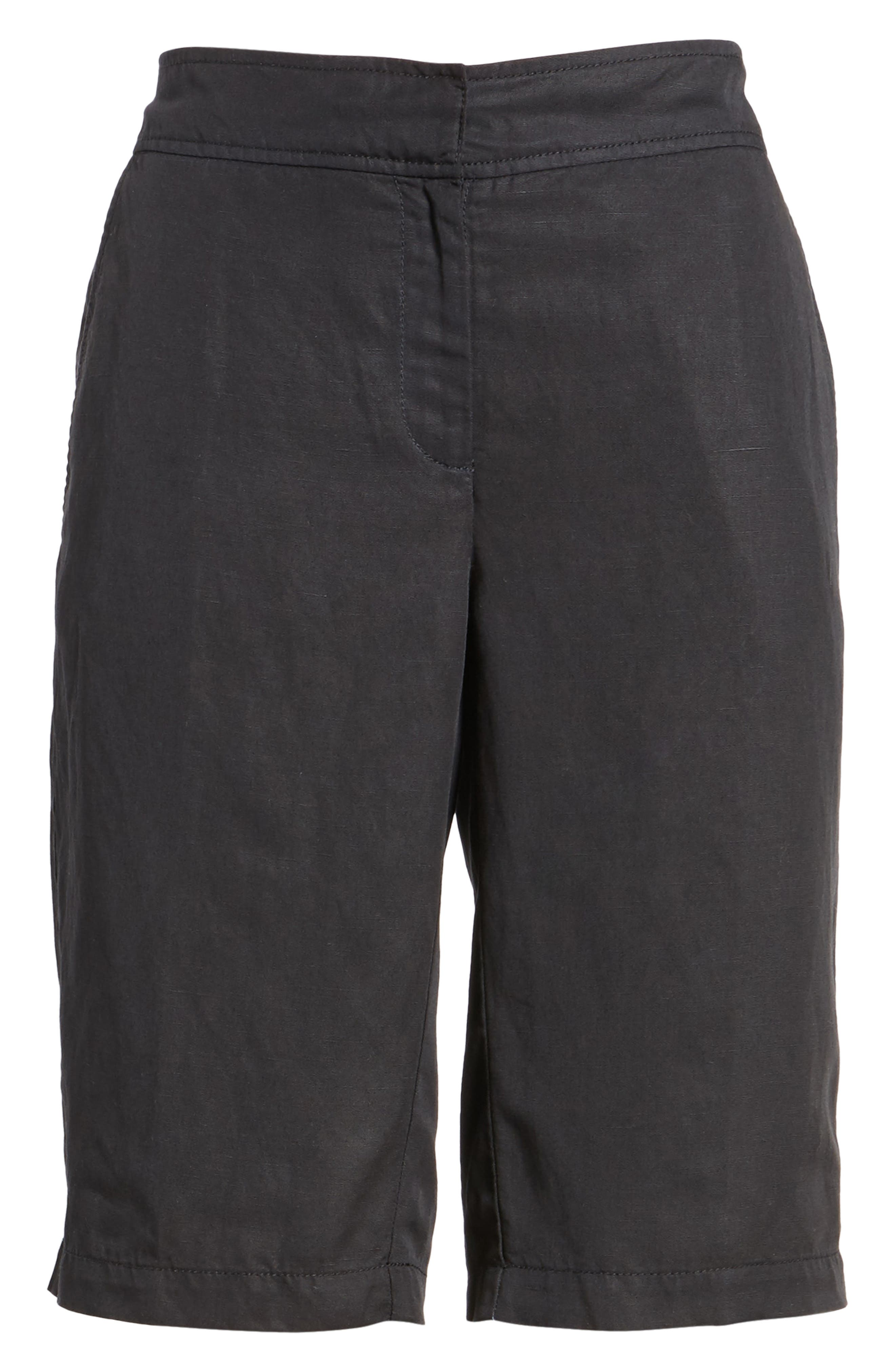 Tencel<sup>®</sup> Lyocell & Linen Walking Shorts,                             Main thumbnail 1, color,                             Black