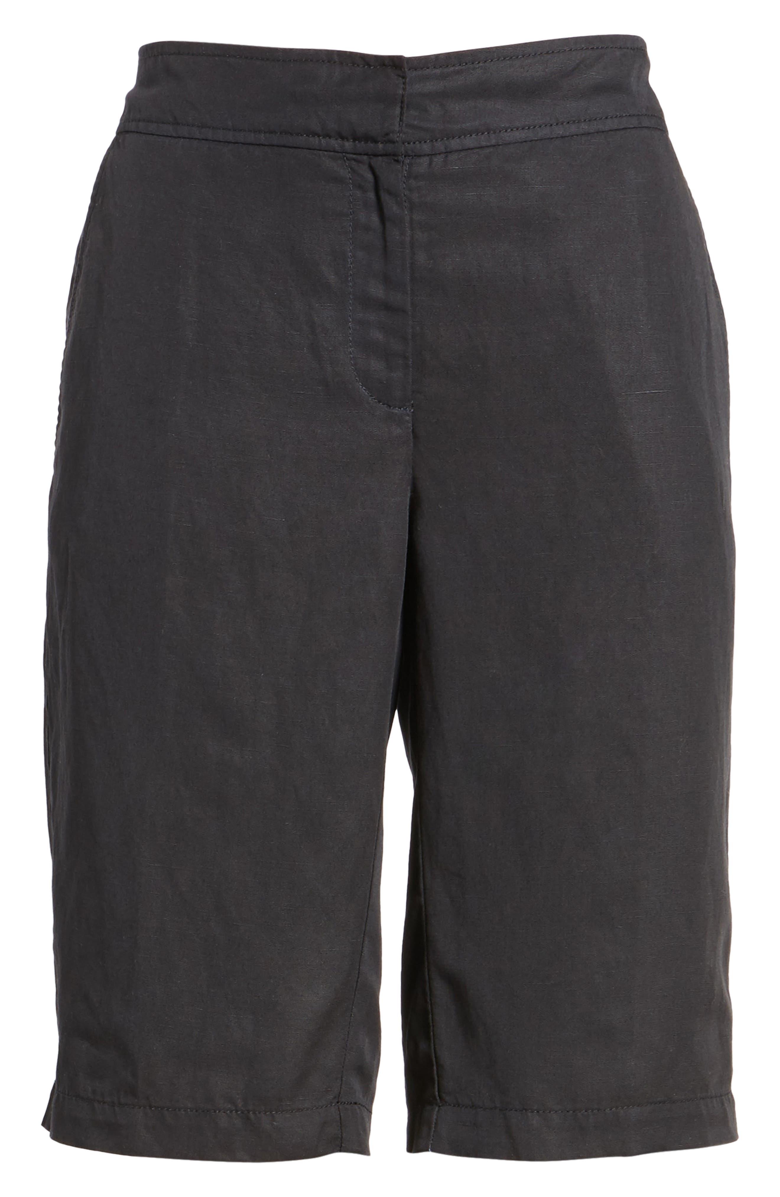 Tencel<sup>®</sup> Lyocell & Linen Walking Shorts,                         Main,                         color, Black