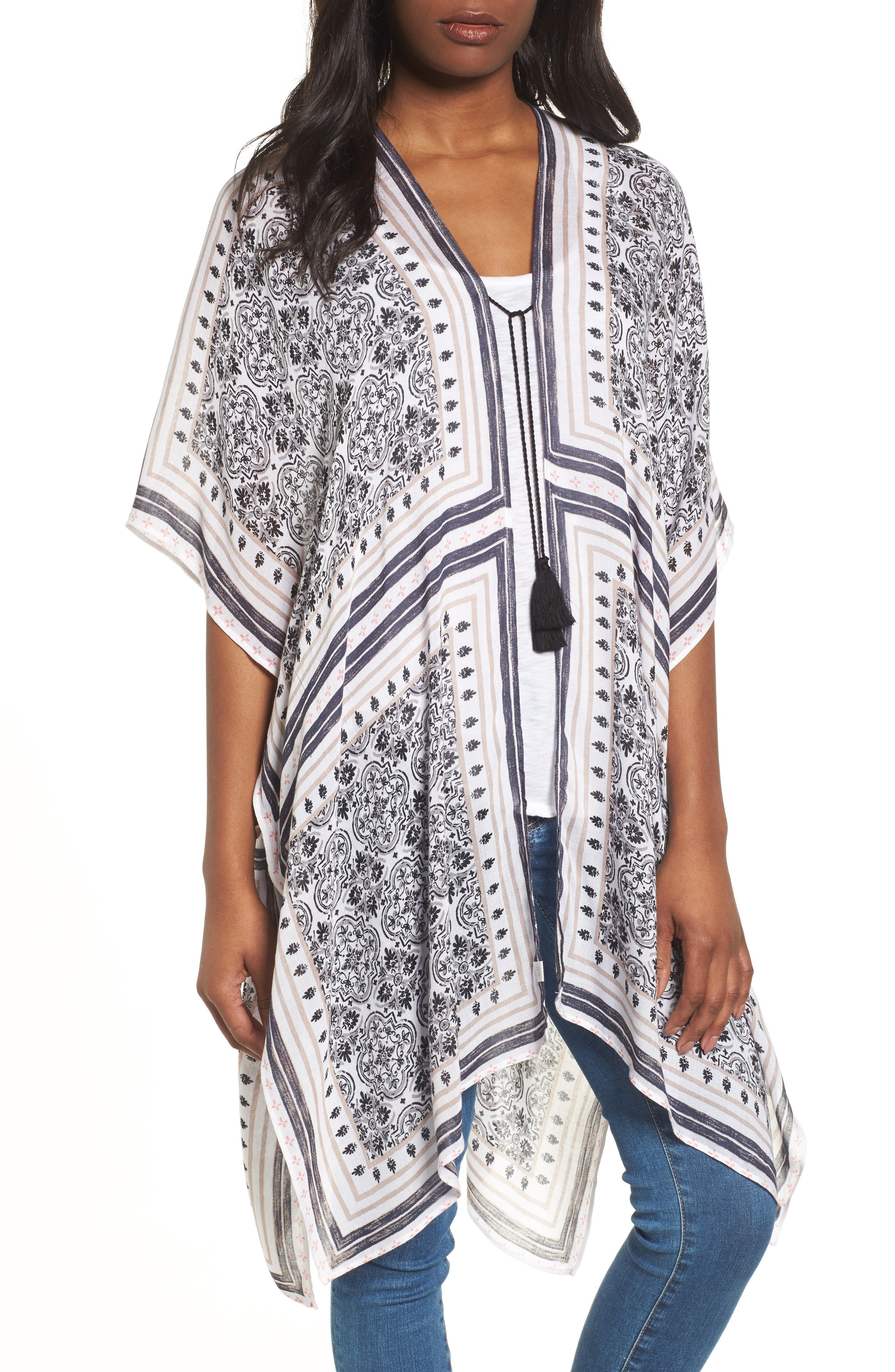 Print Ruana,                         Main,                         color, White Tiled Stripe