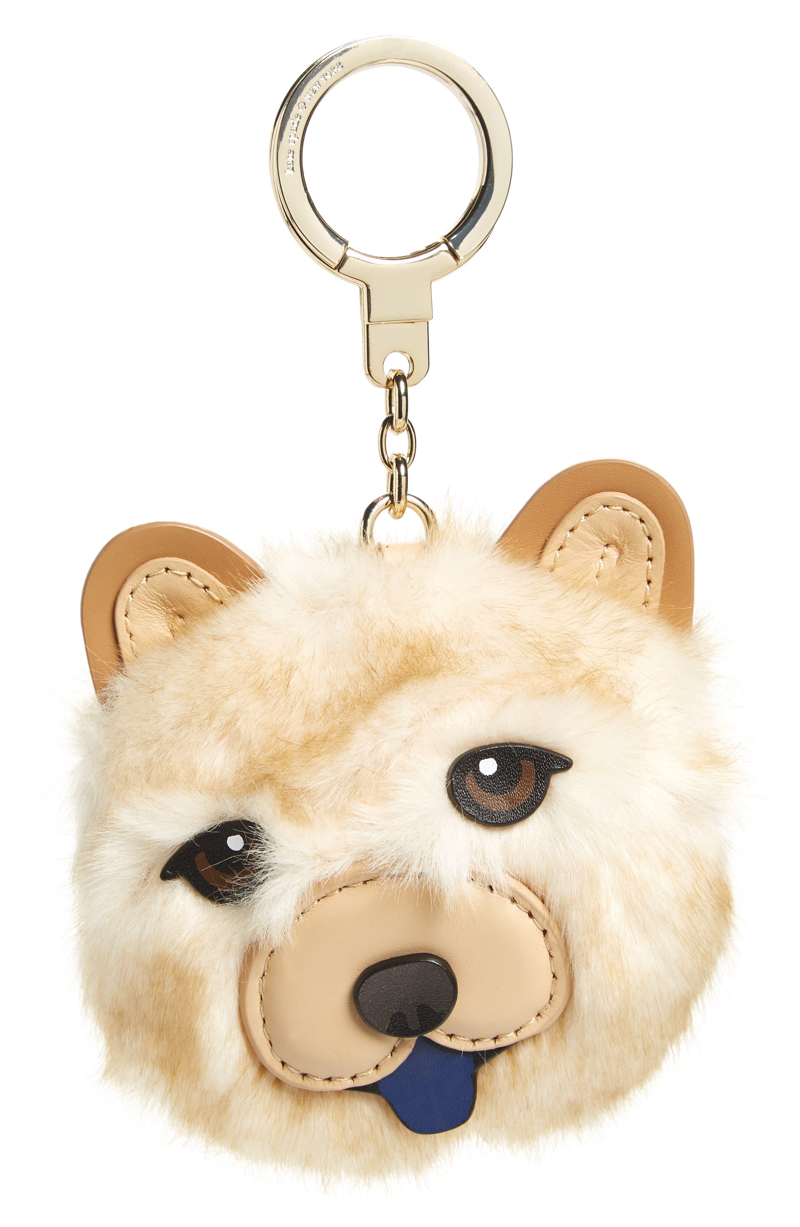 Main Image - kate spade new york chow chow dog bag charm with faux fur