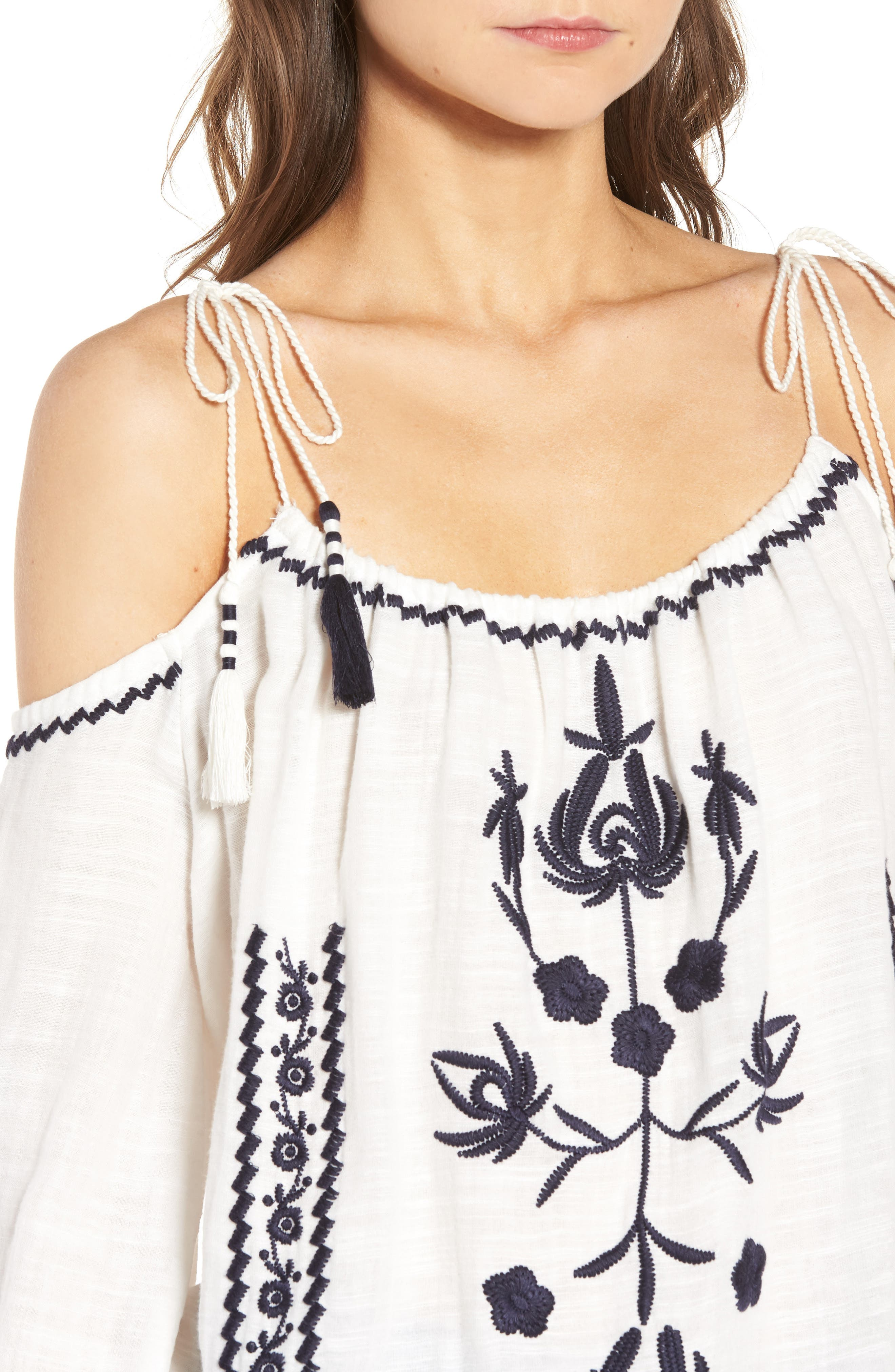 Embroidered Tassel Cold Shoulder Top,                             Alternate thumbnail 4, color,                             Ivory Egret
