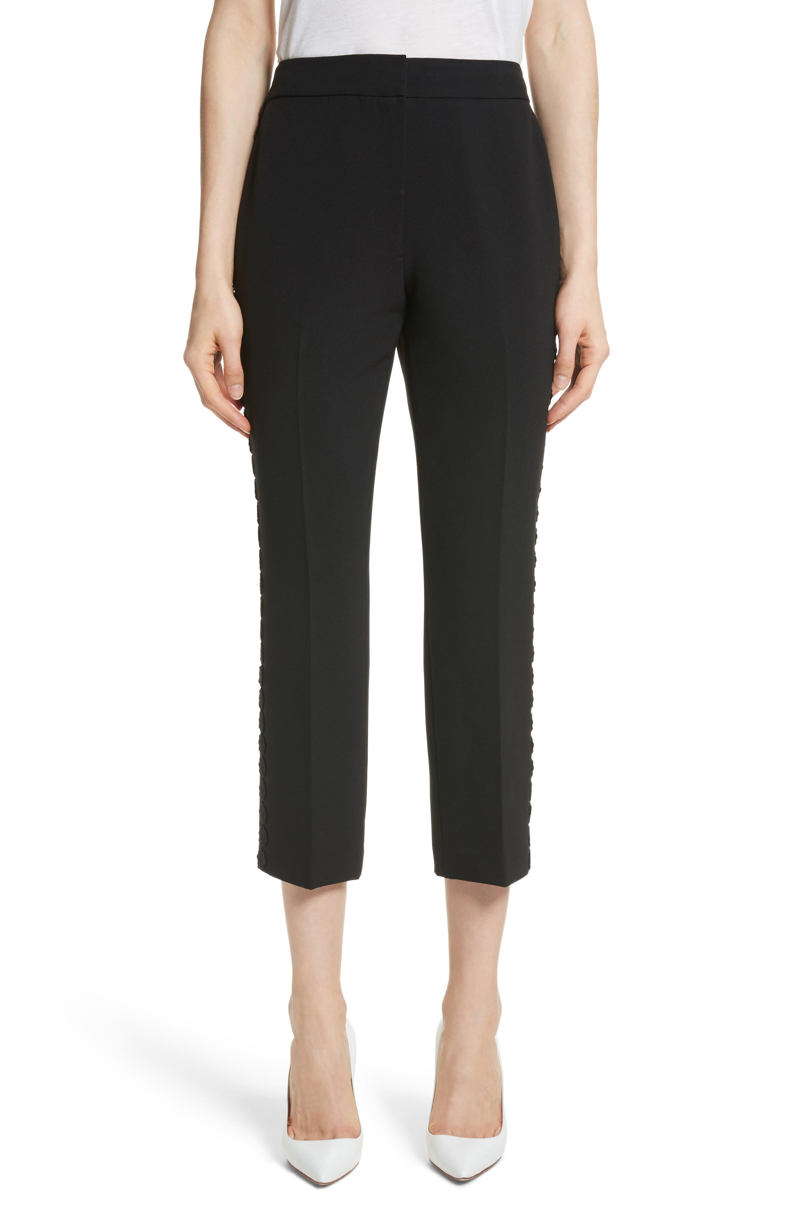 lace trim crop cigarette pants,                         Main,                         color, Black