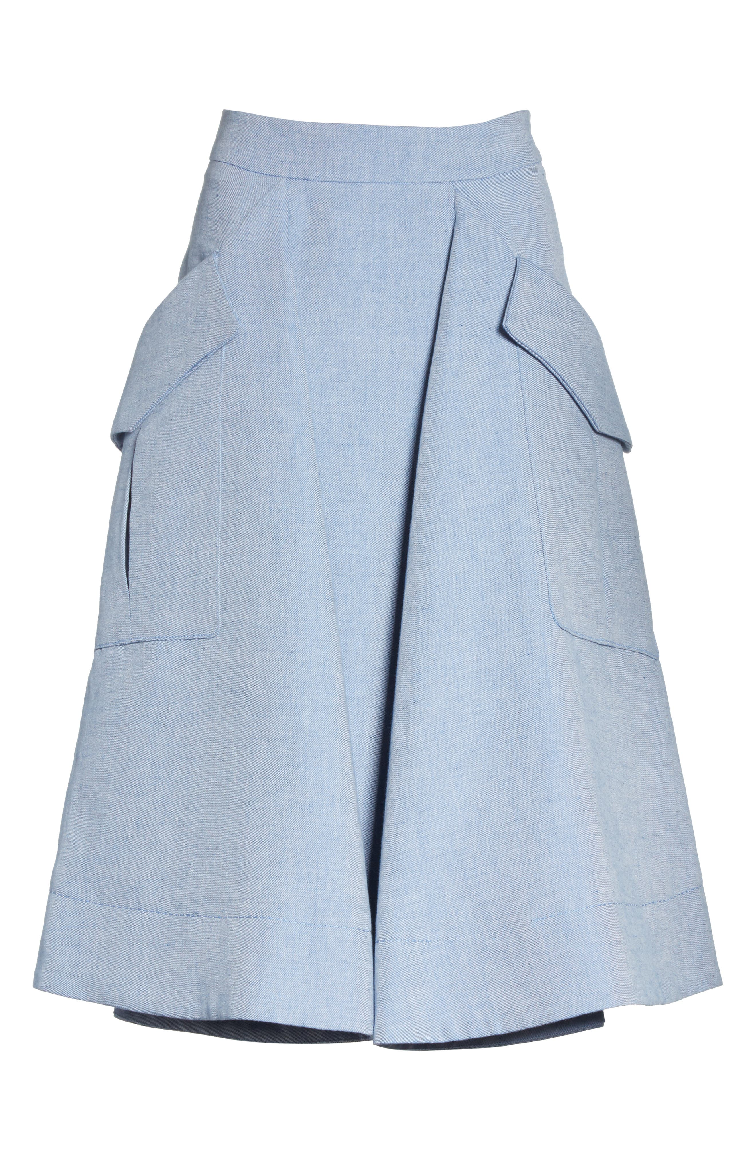Jupe Genou Skirt,                             Alternate thumbnail 6, color,                             Bleu Acier
