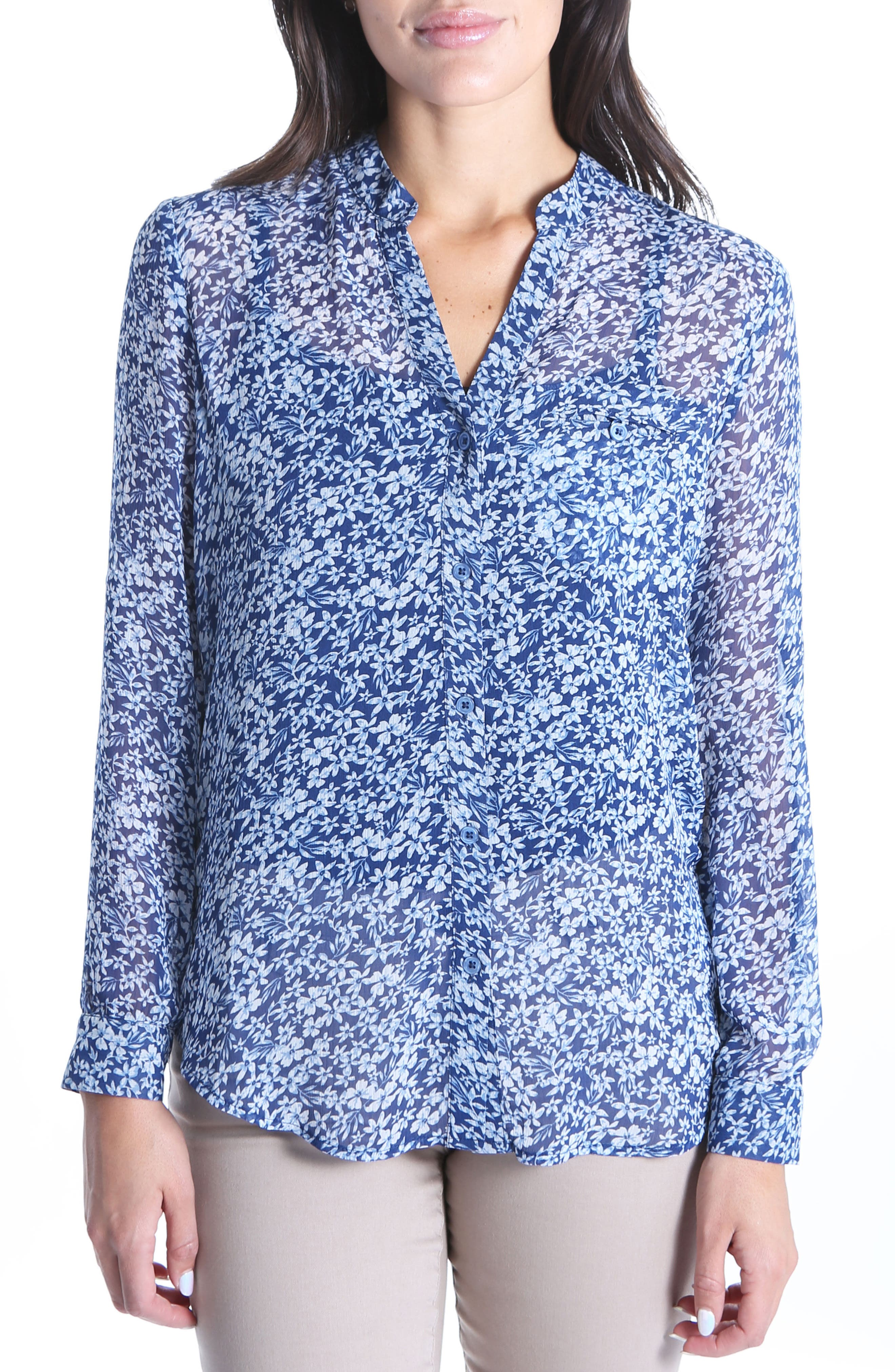 KUT from the the Kloth Jasmine Floral Blouse,                             Main thumbnail 1, color,                             Navy