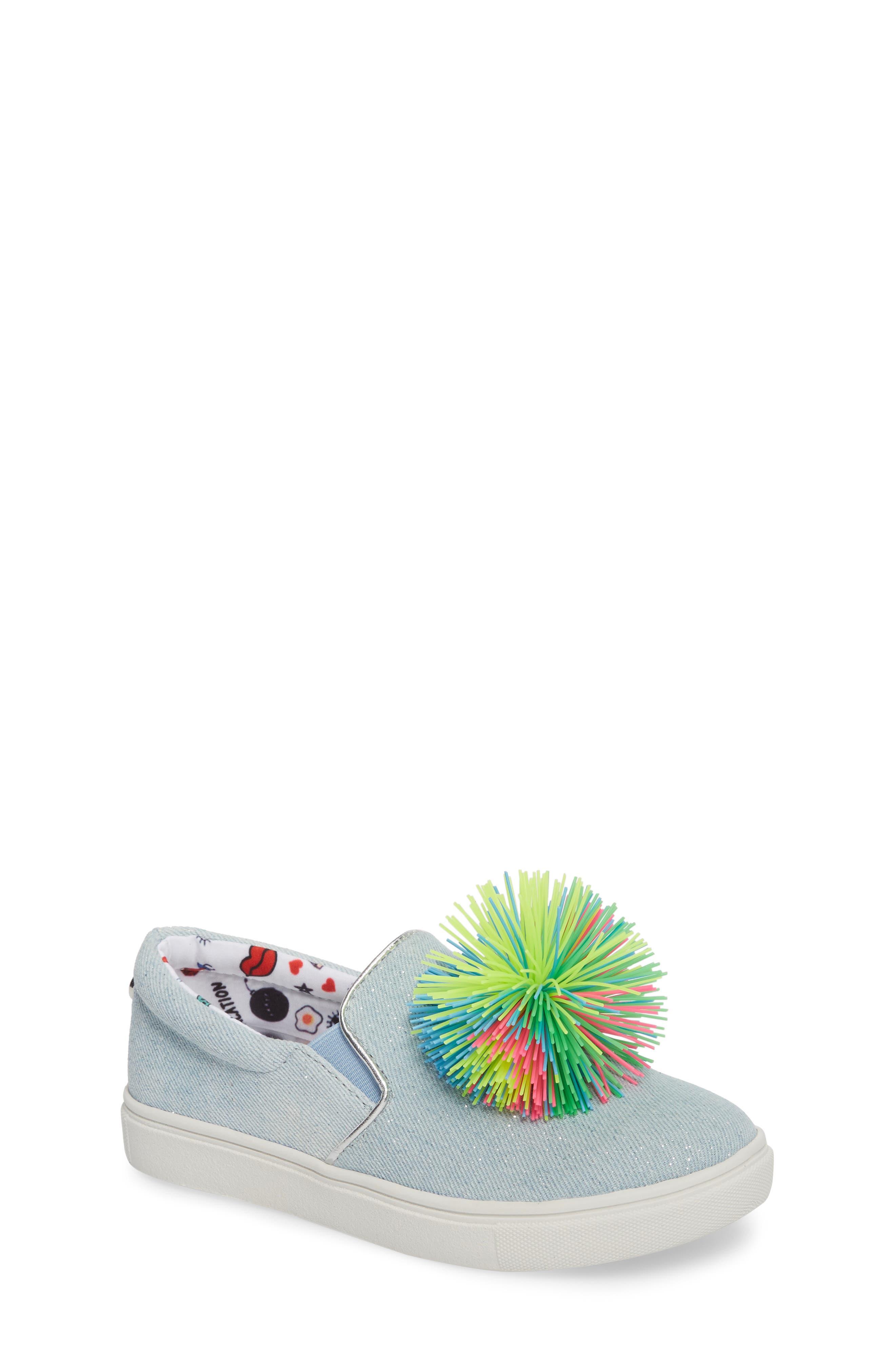 Alternate Image 1 Selected - Steve Madden Pompom Slip-On Sneaker (Little Kid & Big Kid)