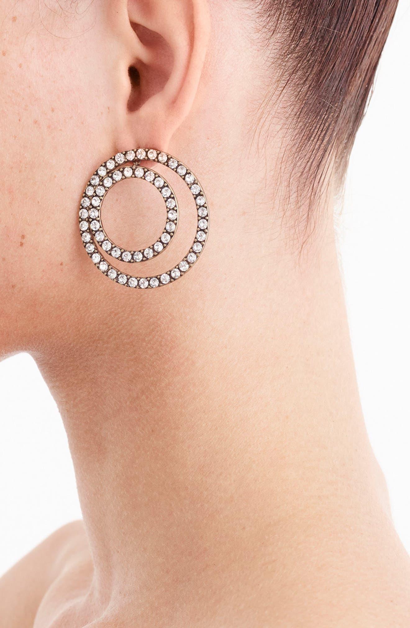 J.Crew Sparkle Double Circle Earrings,                             Alternate thumbnail 2, color,                             Heather Ash