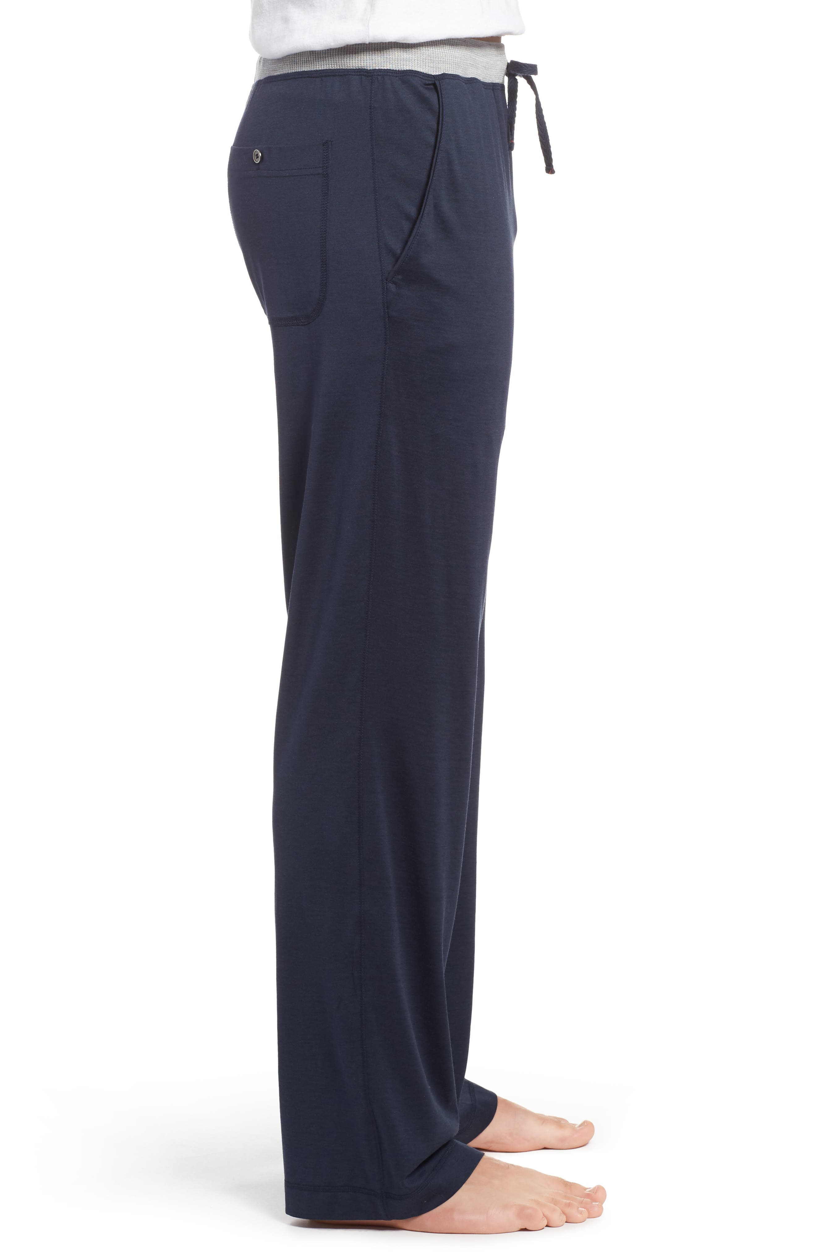 Silk & Cotton Lounge Pants,                             Alternate thumbnail 3, color,                             Midnight