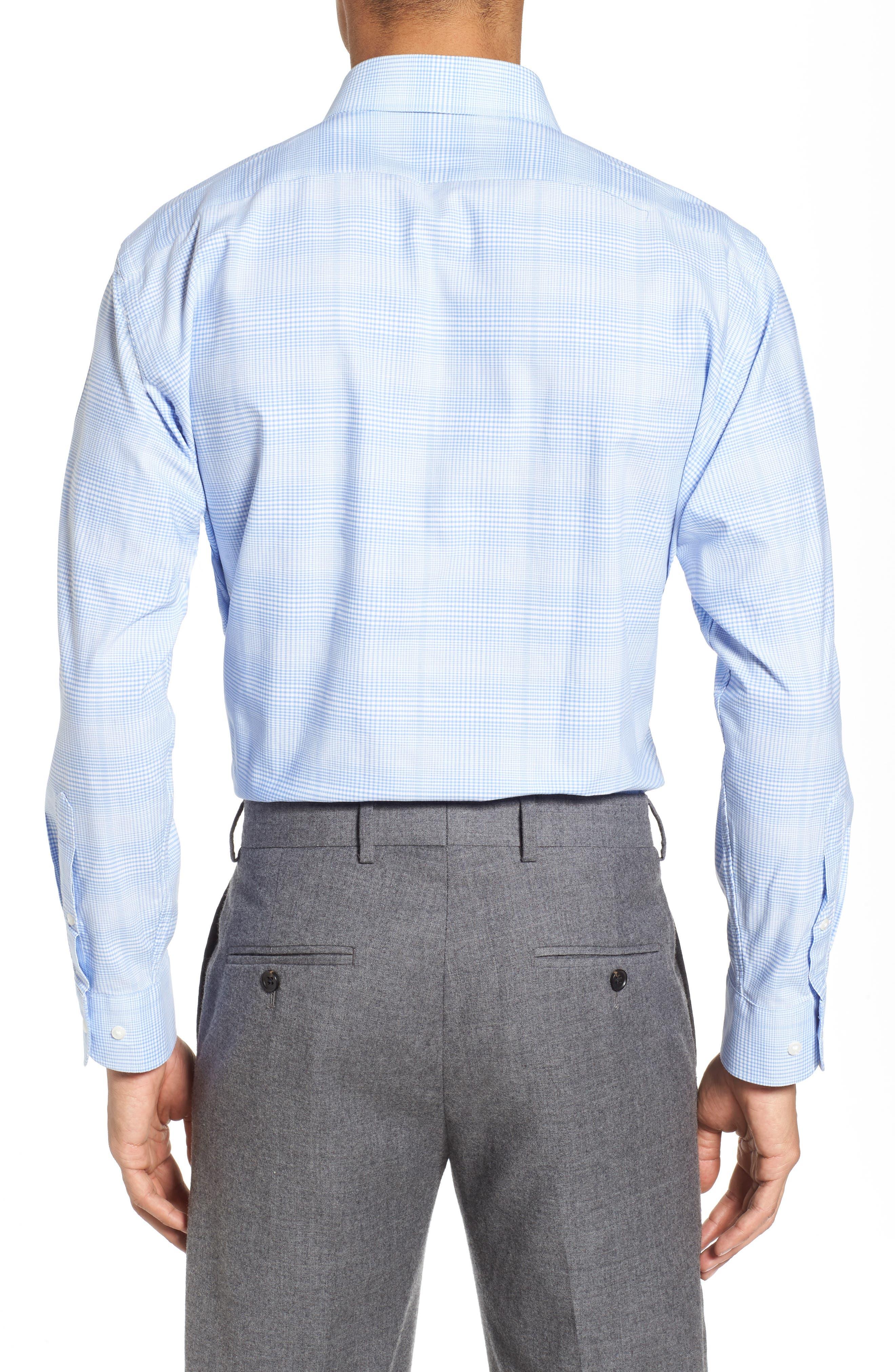 Tech-Smart Trim Fit Stretch Plaid Dress Shirt,                             Alternate thumbnail 3, color,                             Blue Hydrangea