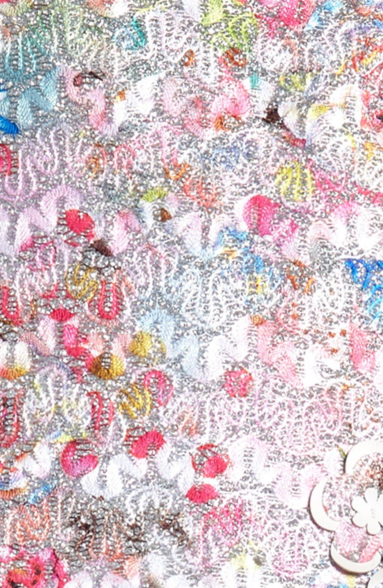 Brocade Bodice Dress,                             Alternate thumbnail 3, color,                             Silver