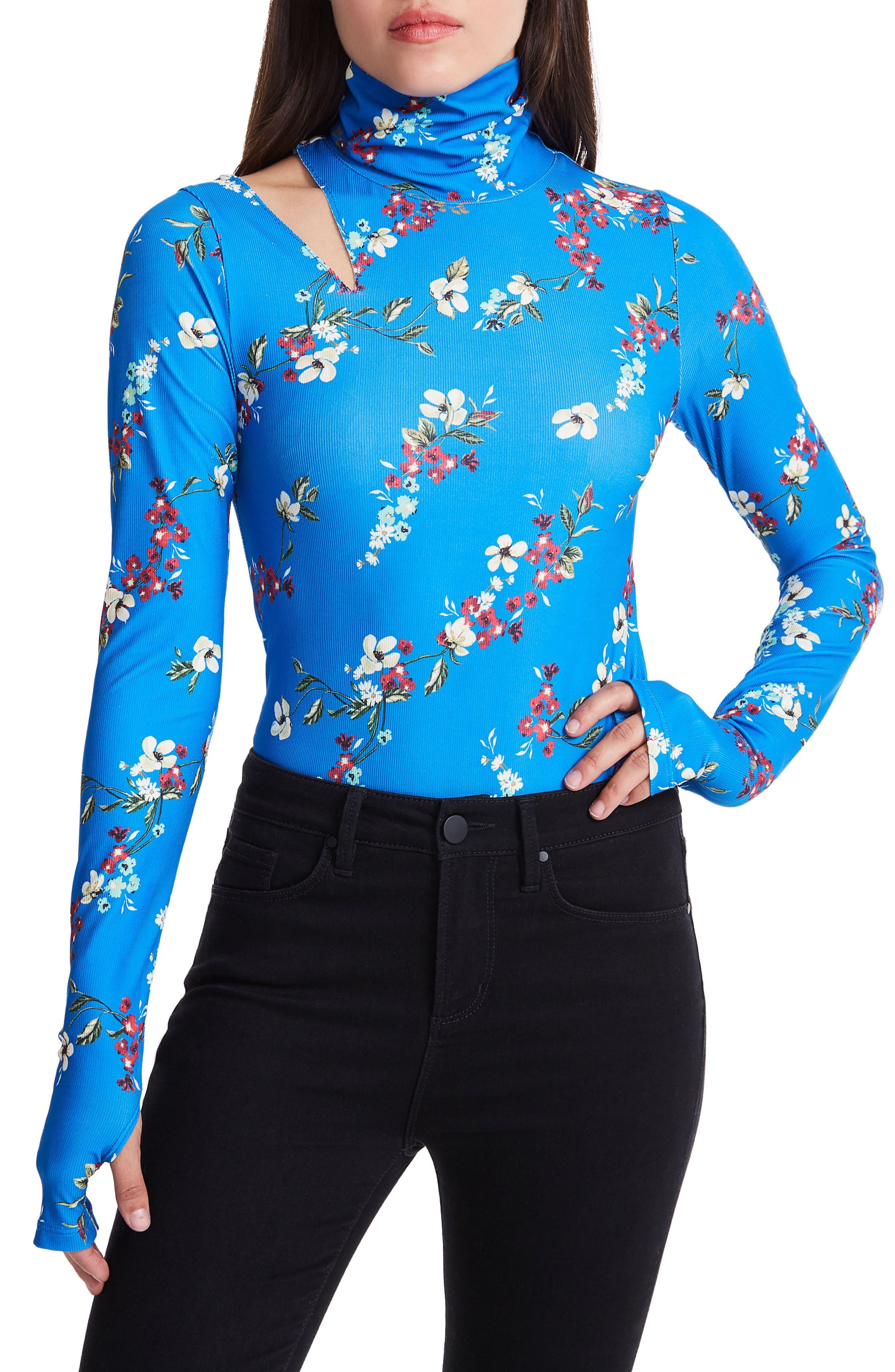 Como Cutout Ribbed Bodysuit,                         Main,                         color, Directoire Blue Daffodill