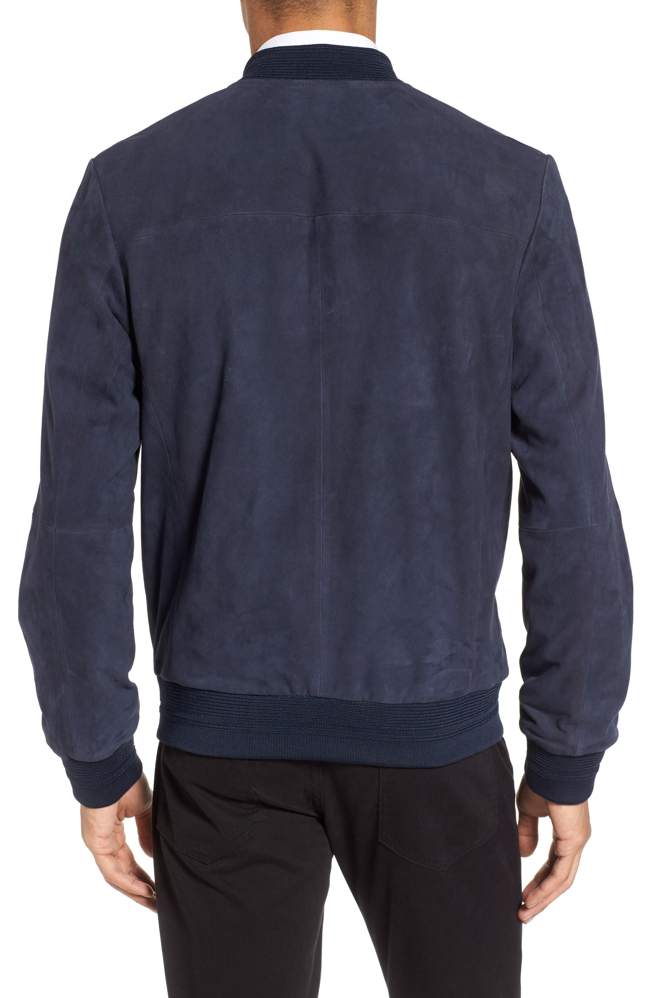 Suede Bomber Jacket,                             Alternate thumbnail 2, color,                             Navy Blue