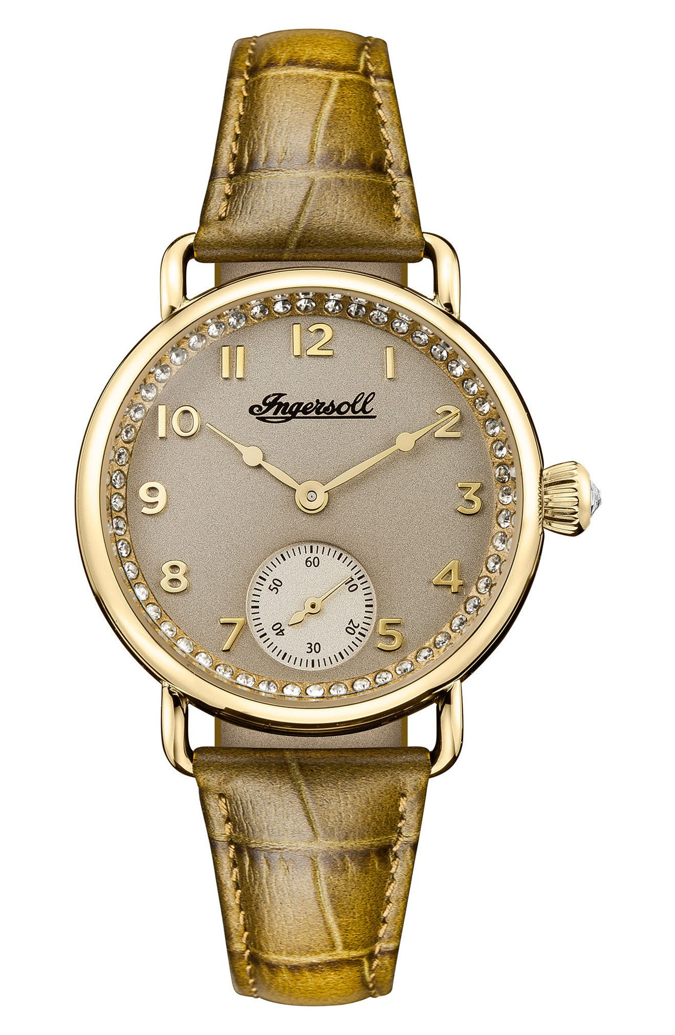 Ingersoll Trenton Leather Strap Watch, 34mm,                             Main thumbnail 1, color,                             Olive/ Beige/ Gold
