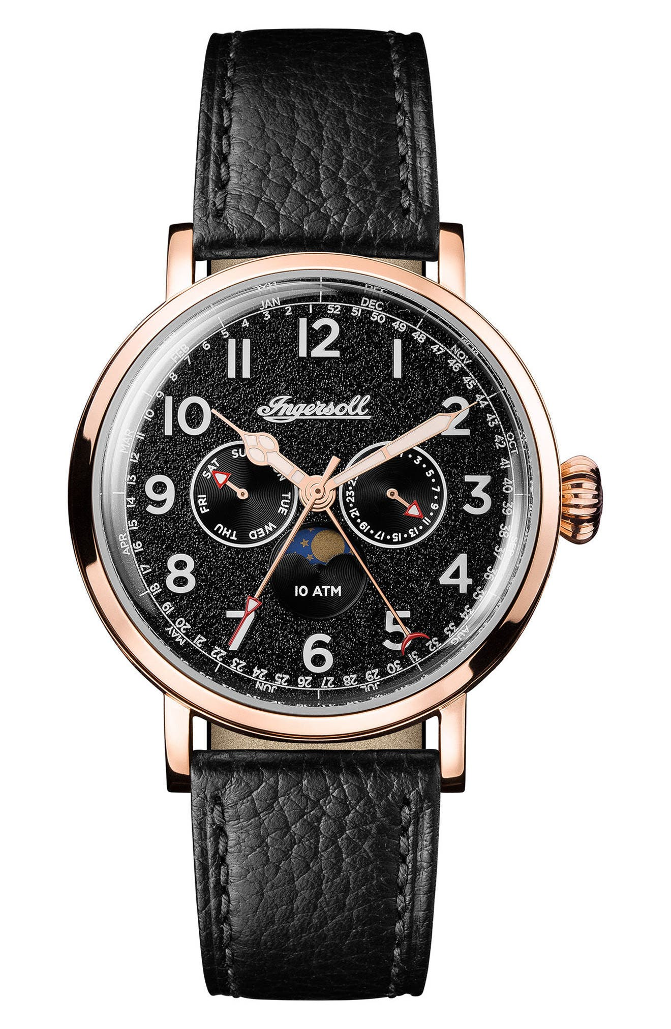 Ingersoll St. John Moonphase Leather Strap Watch, 44mm,                             Main thumbnail 1, color,                             Black/ Rose Gold
