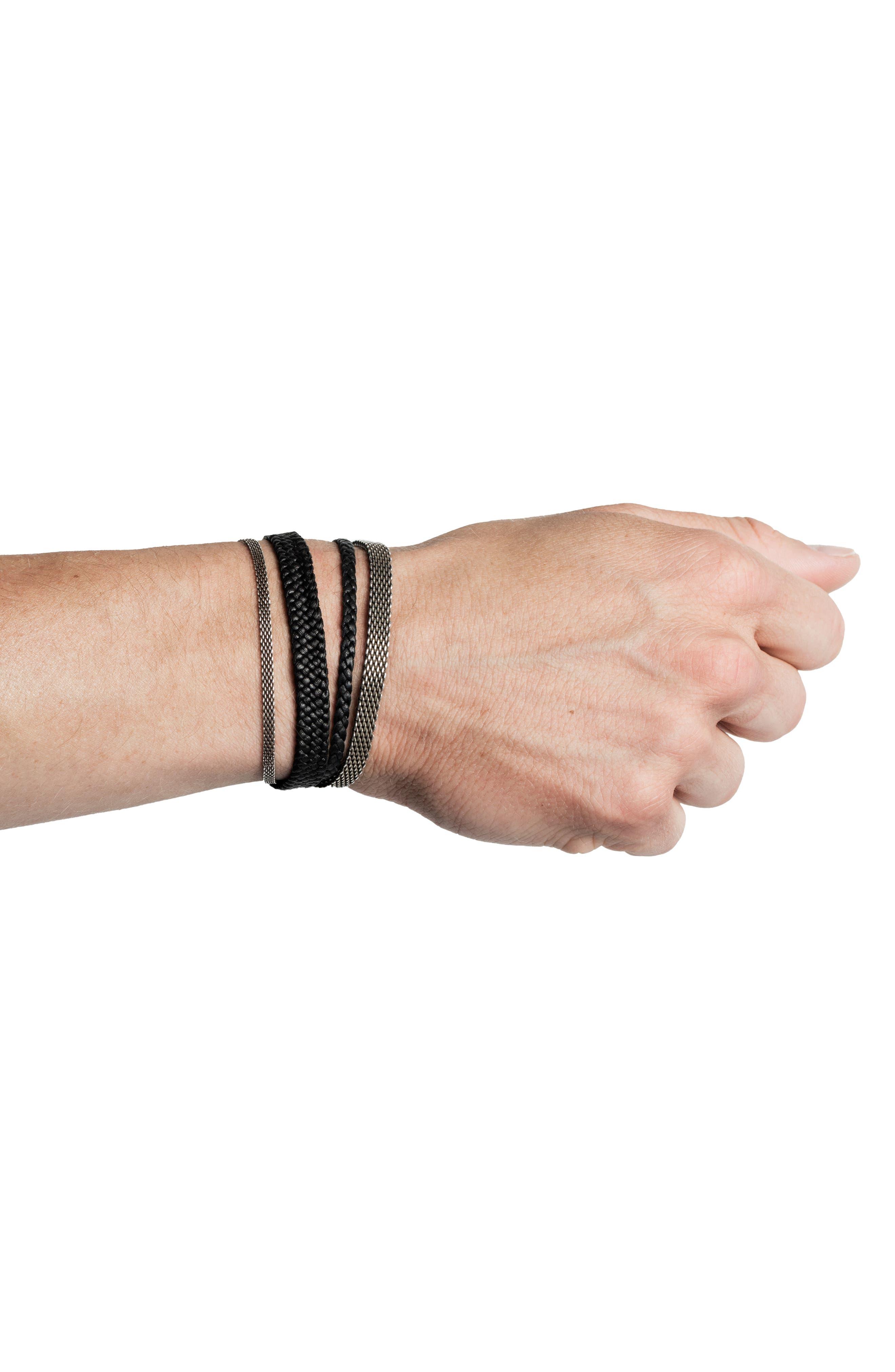 Mesh & Leather Wrap Bracelet,                             Alternate thumbnail 2, color,                             Silver/Black