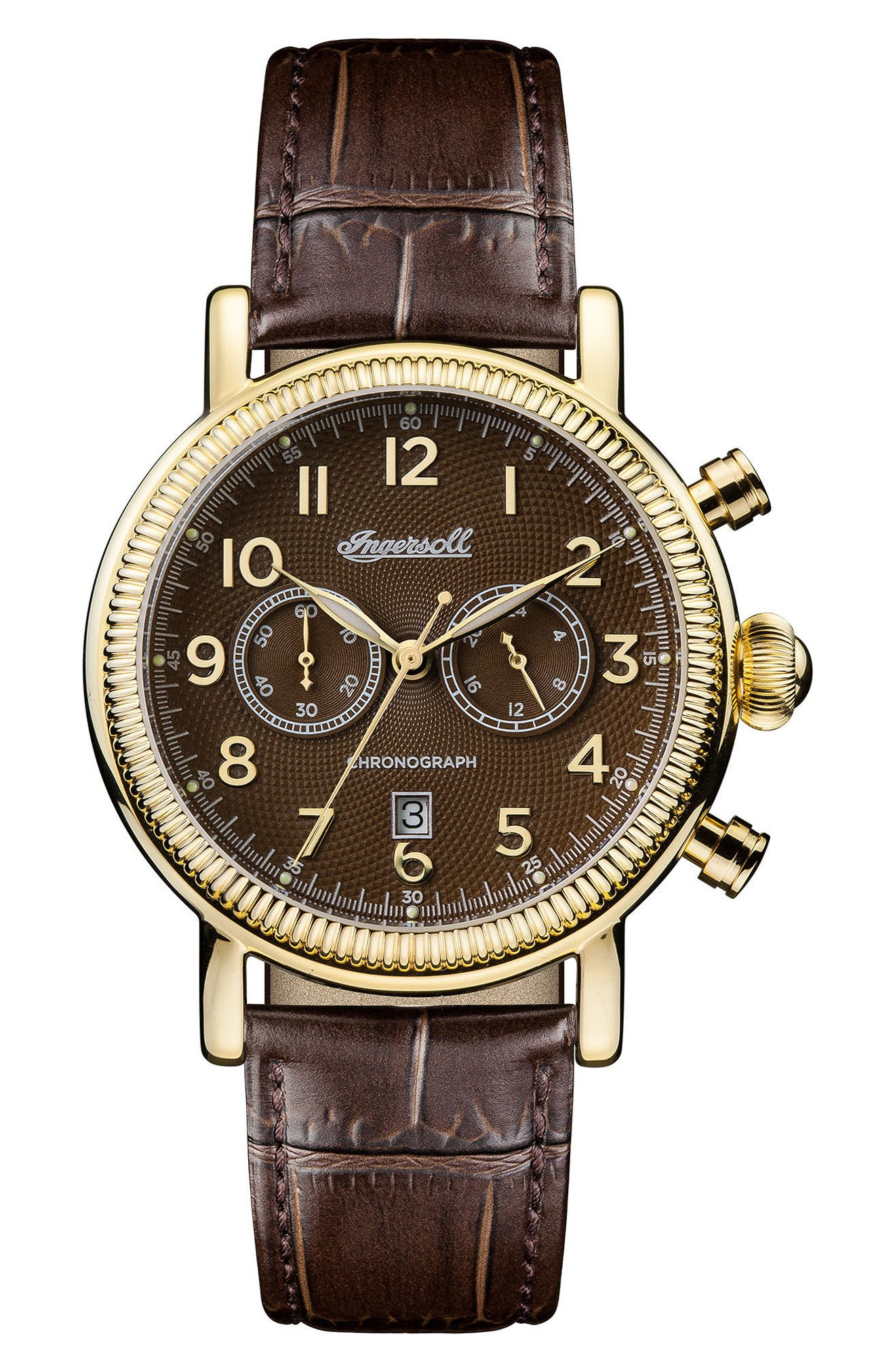 Ingersoll Daniells Chronograph Leather Strap Watch, 44mm,                         Main,                         color, Brown/ Gold