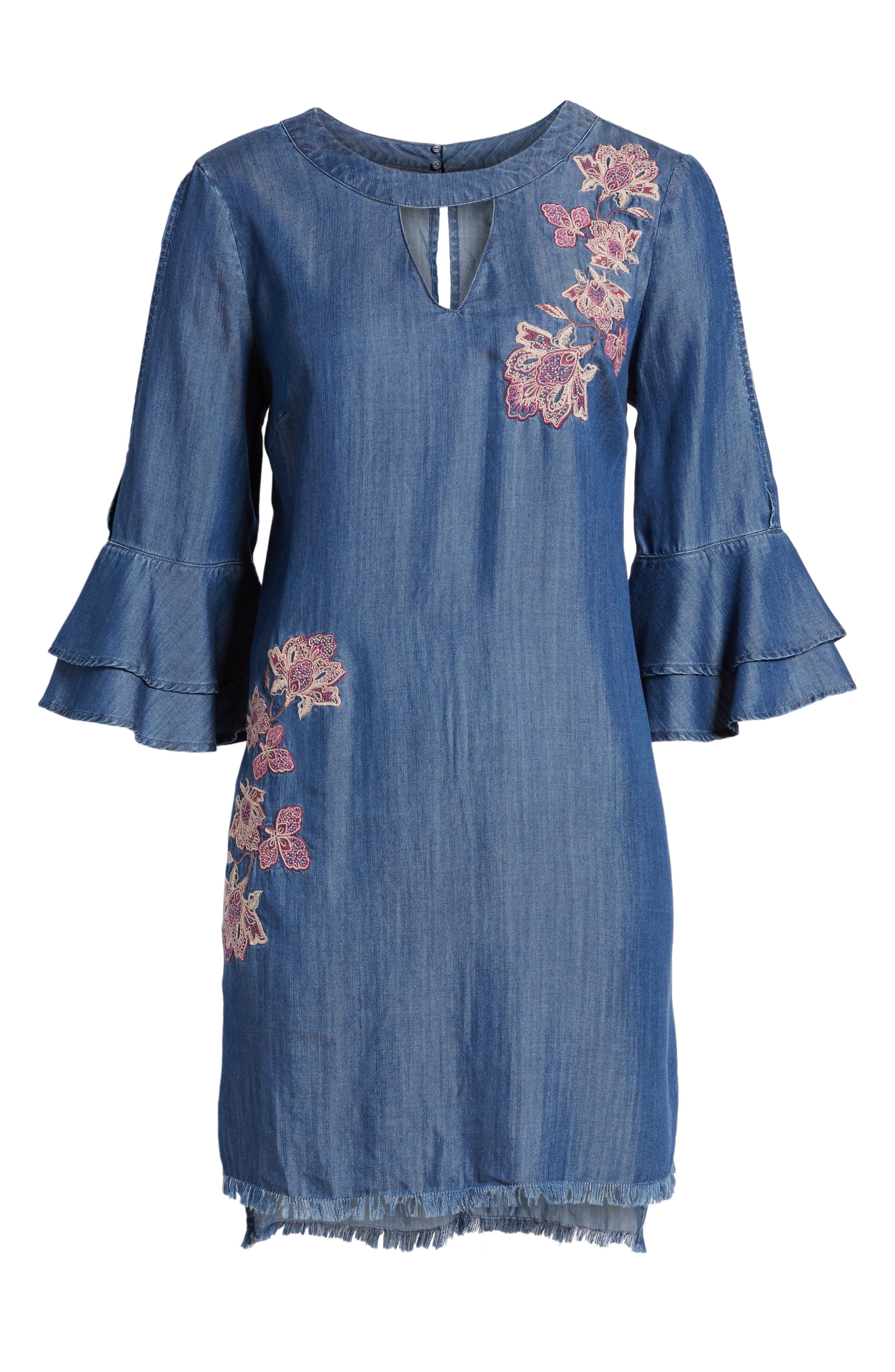 Embroidered Chambray Keyhole Dress,                             Alternate thumbnail 6, color,                             Blue