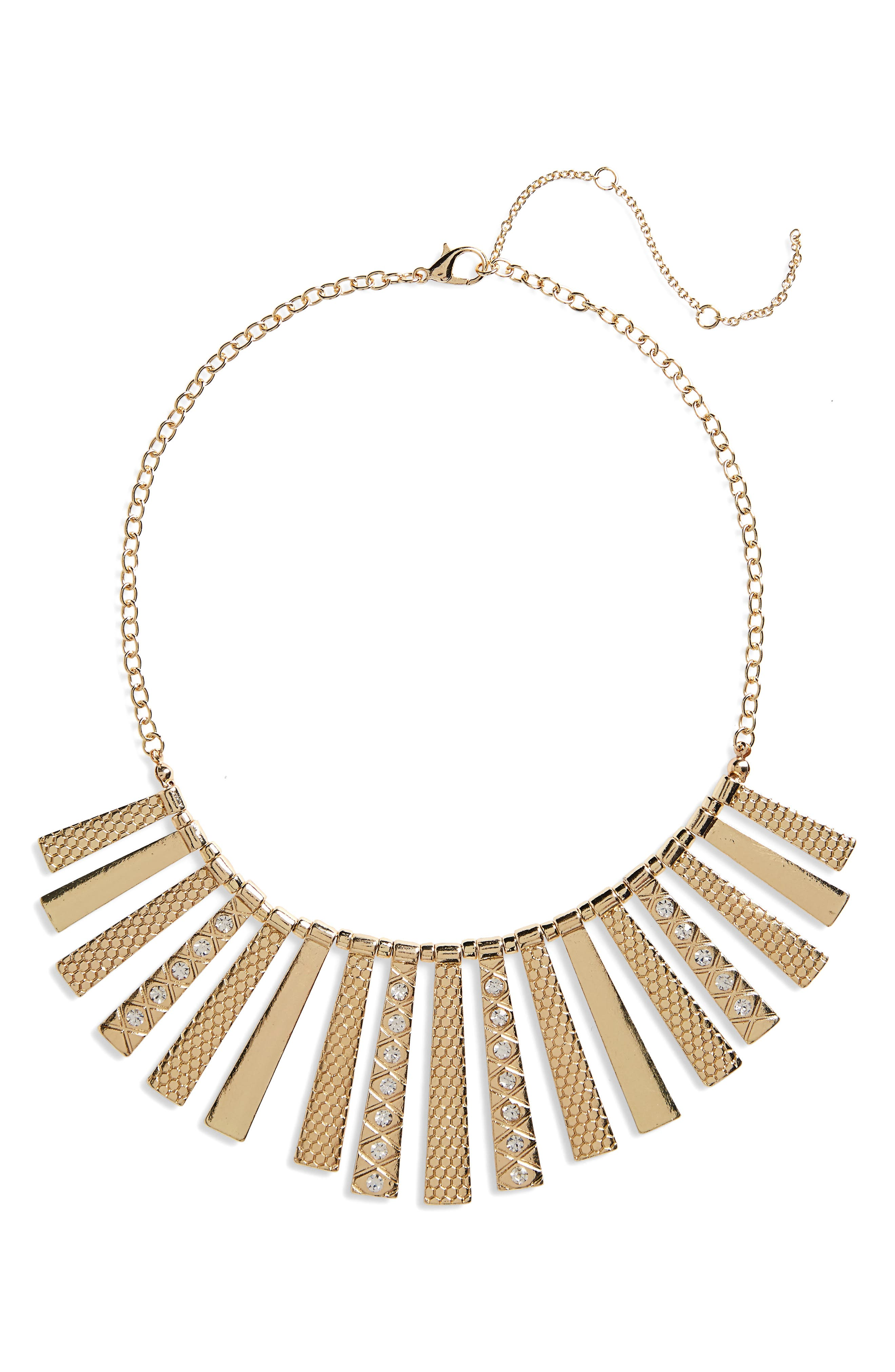 Textured Statement Necklace,                         Main,                         color, Gold/ Crystal