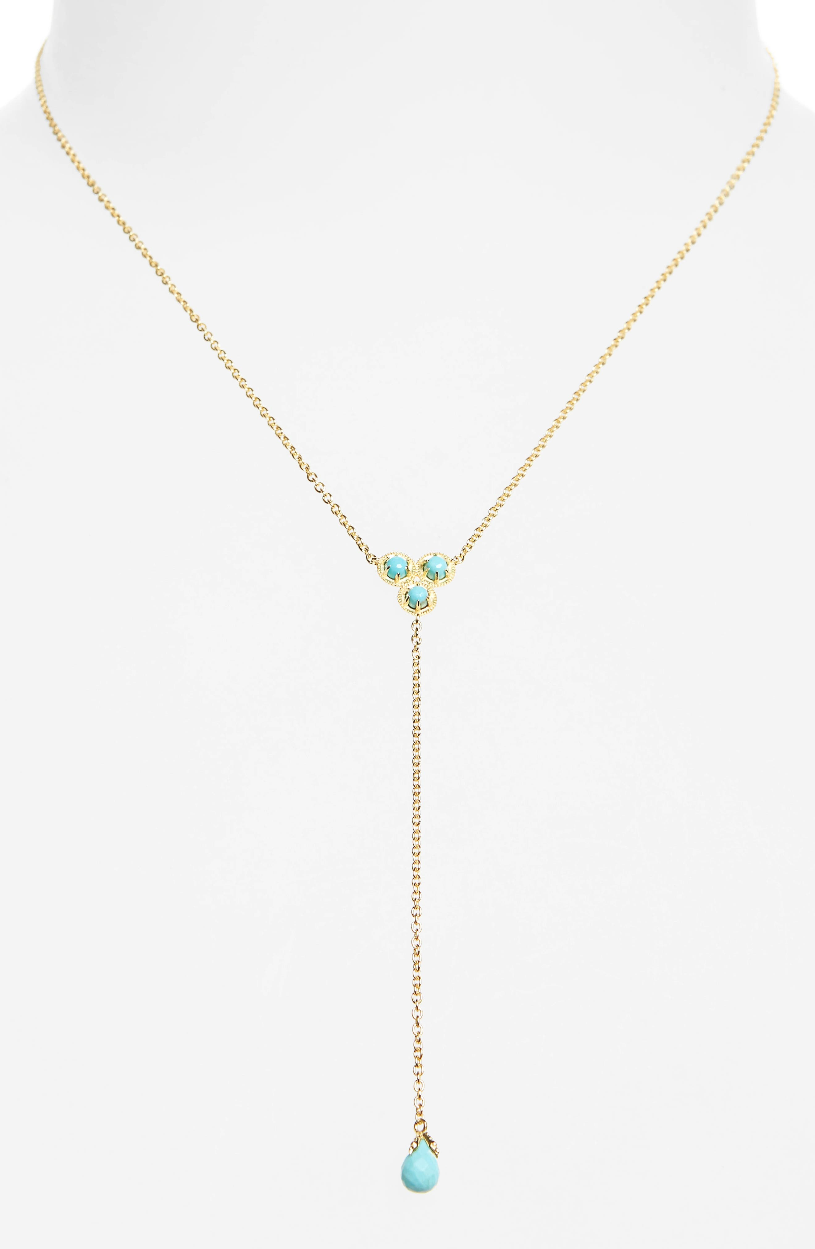 Cleo Semiprecious Stone Necklace,                         Main,                         color, Turquoise/ Gold