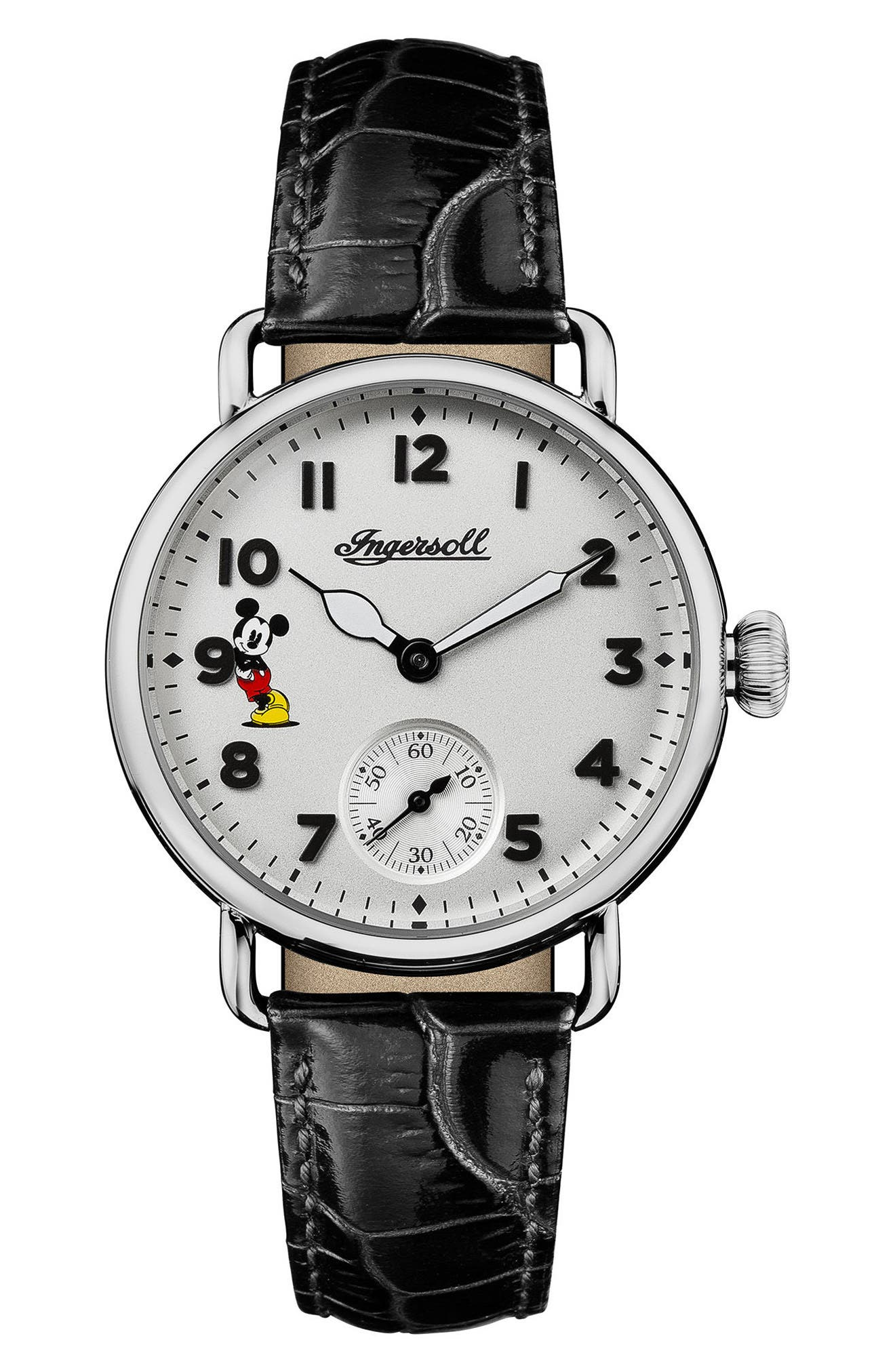 Ingersoll Trenton Disney Leather Strap Watch, 31mm,                             Main thumbnail 1, color,                             Black/ White/ Silver