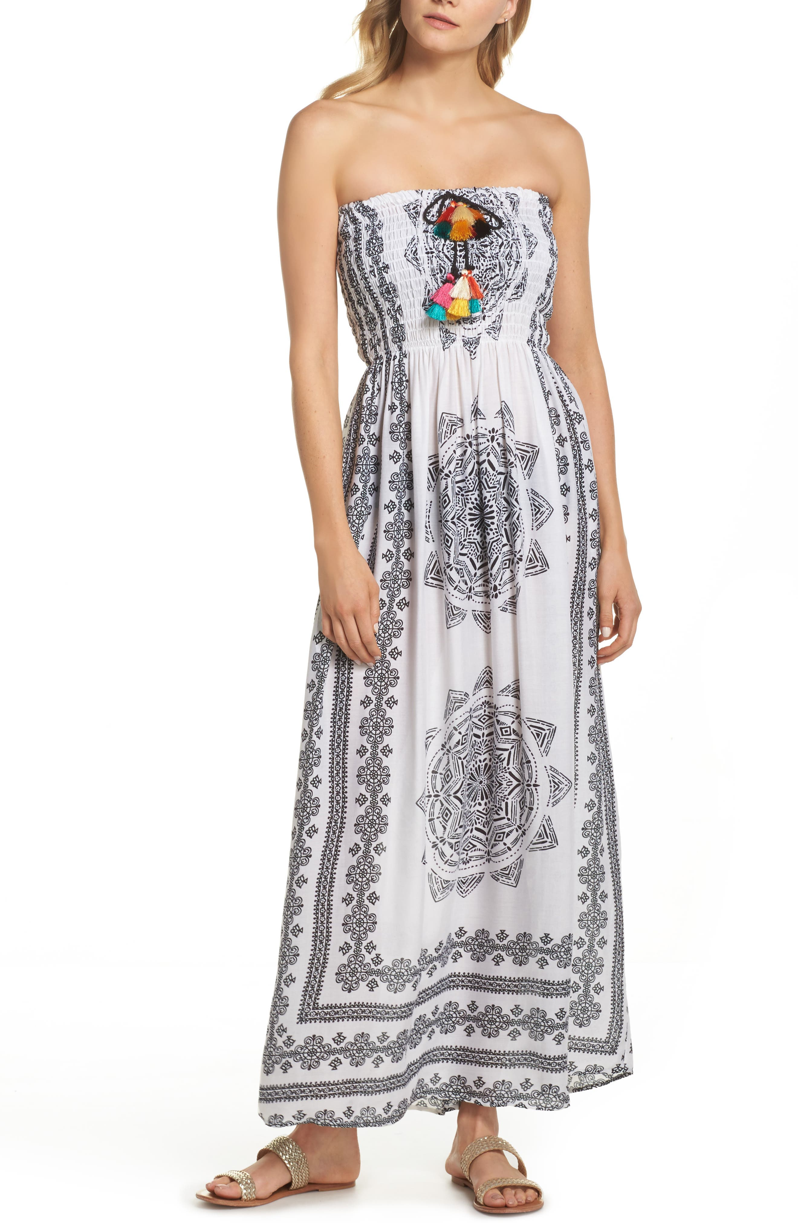 Smocked Cover-Up Maxi Dress,                             Main thumbnail 1, color,                             White