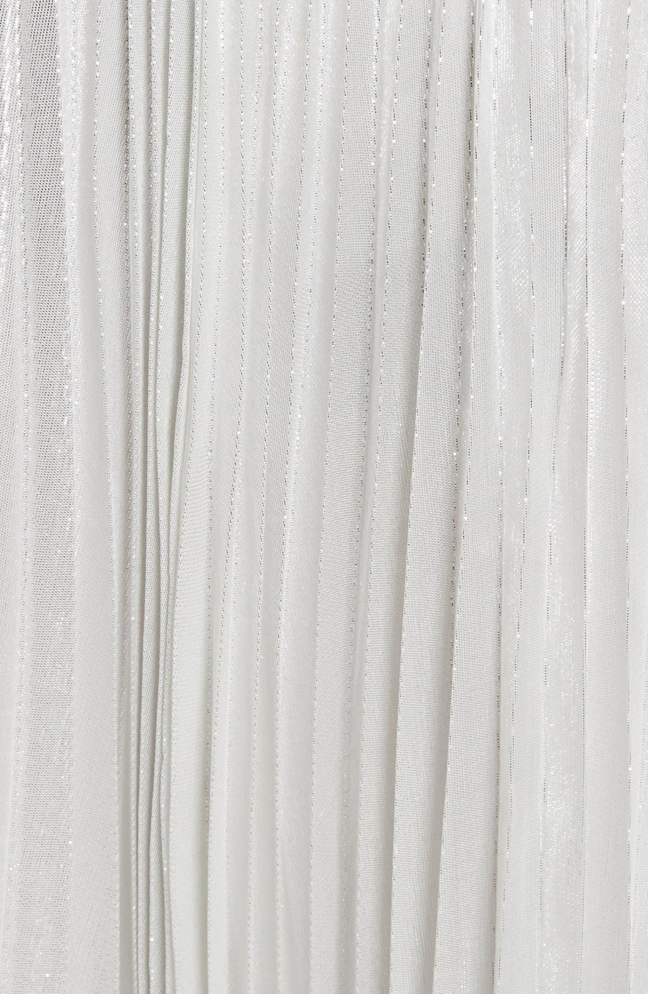 metallic pleat midi skirt,                             Alternate thumbnail 5, color,                             Silver