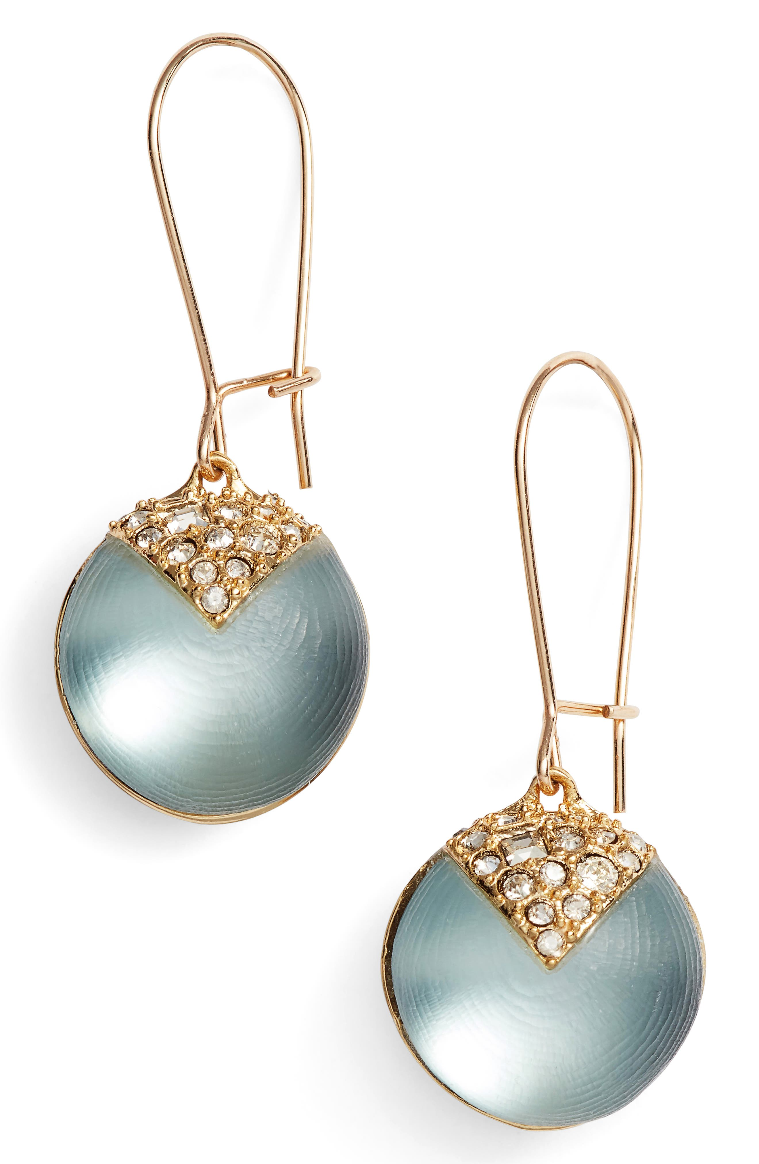 Alex Bittar Crystal Encrusted Lucite<sup>®</sup> Sphere Drop Earrings,                             Main thumbnail 1, color,                             Grey Blue