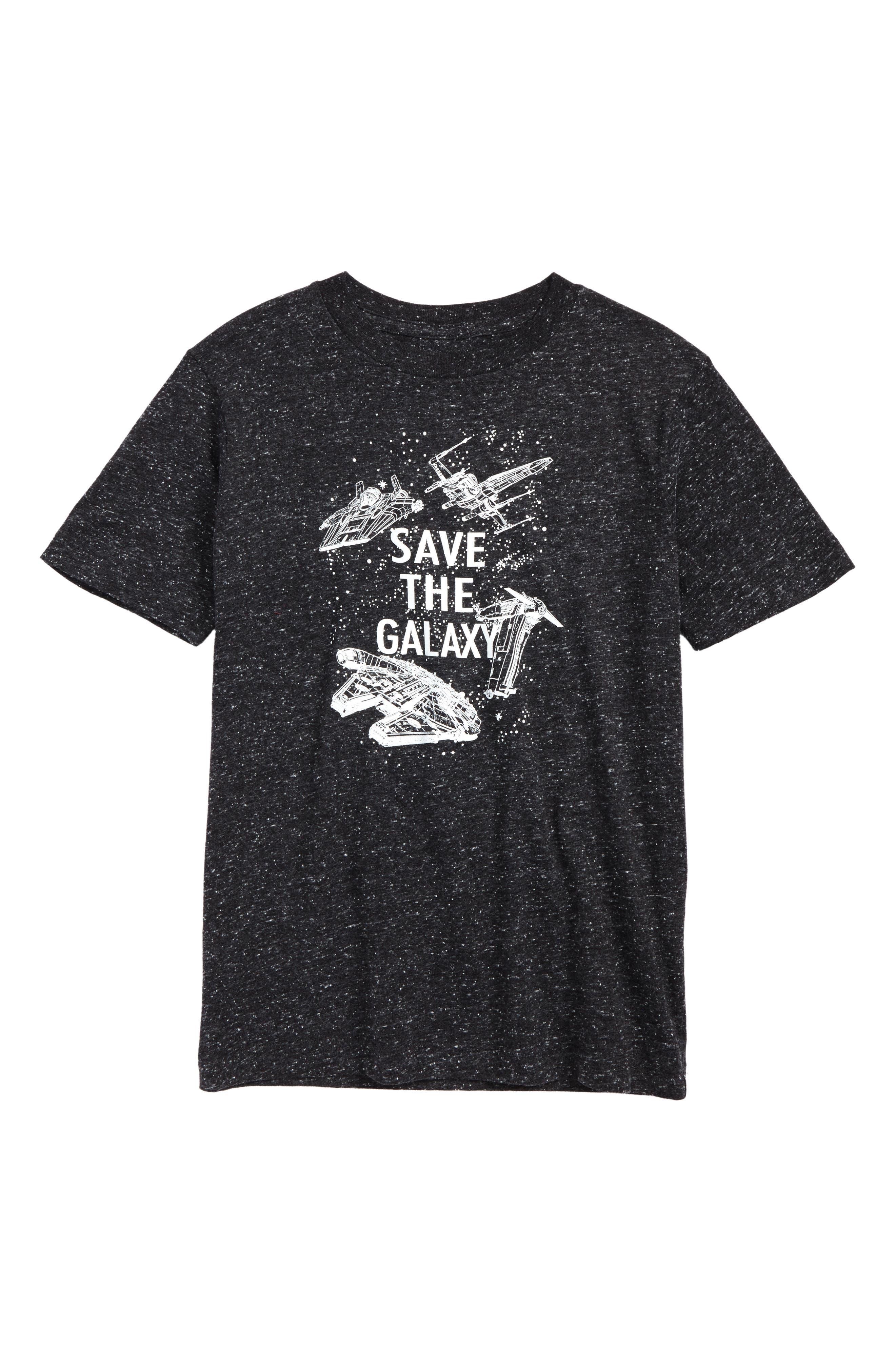 Star Wars - Save the Galaxy Glow in the Dark T-Shirt,                             Main thumbnail 1, color,                             Black