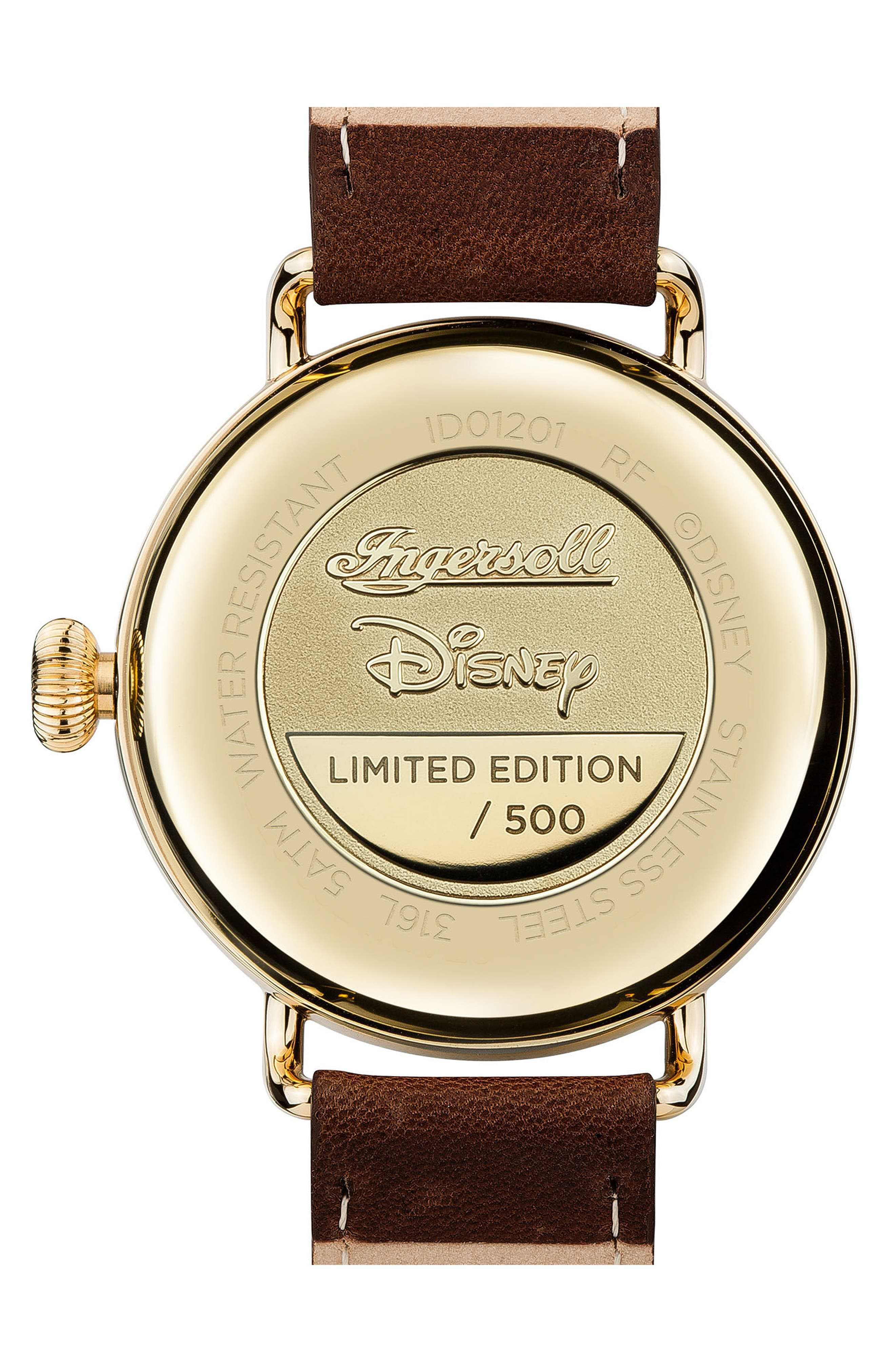 Ingersoll Trenton Disney Leather Strap Watch, 44mm,                             Alternate thumbnail 2, color,                             Brown/ Cream/ Gold