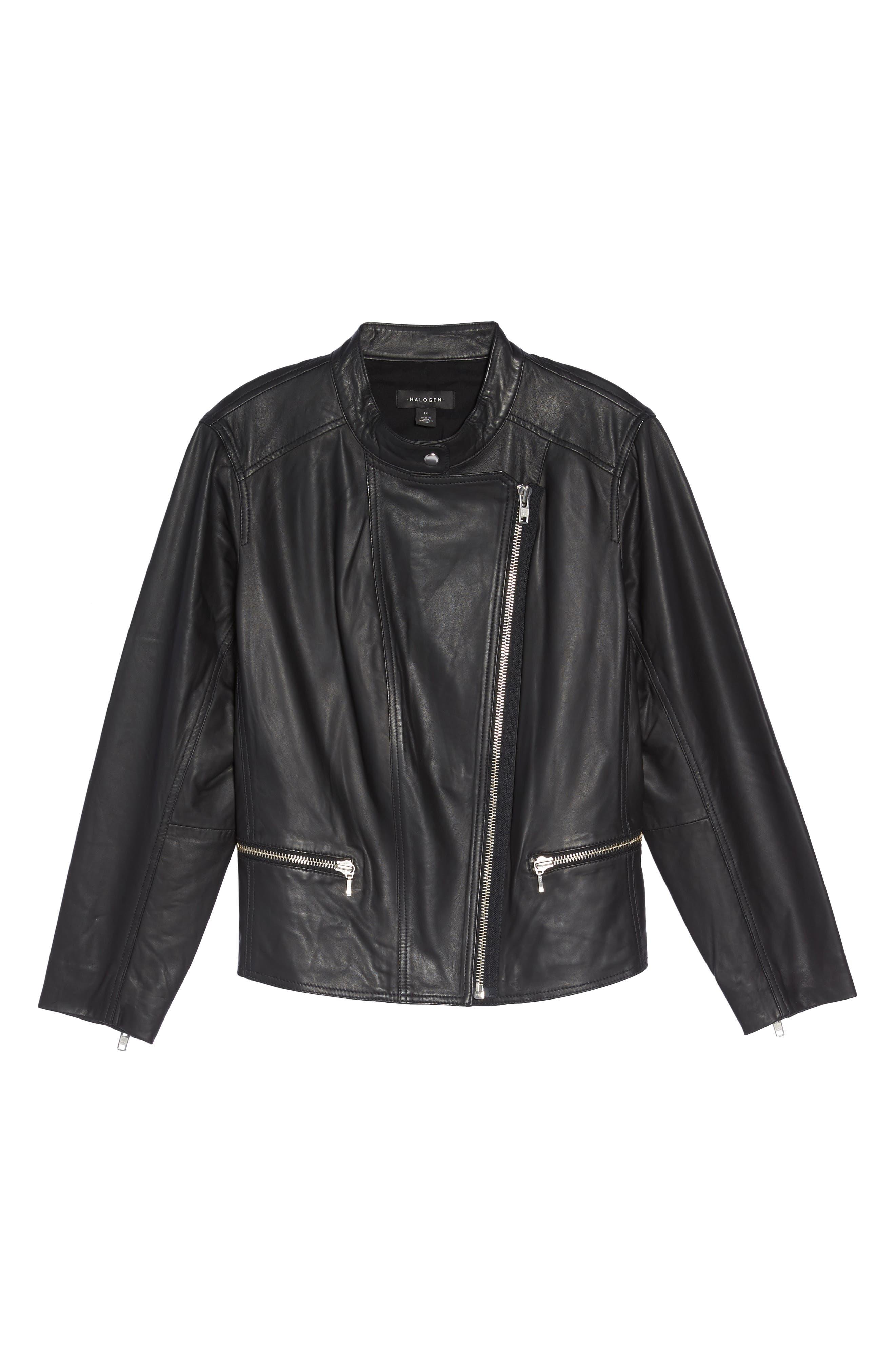 Alternate Image 6  - Halogen® Leather Moto Jacket (Plus Size)