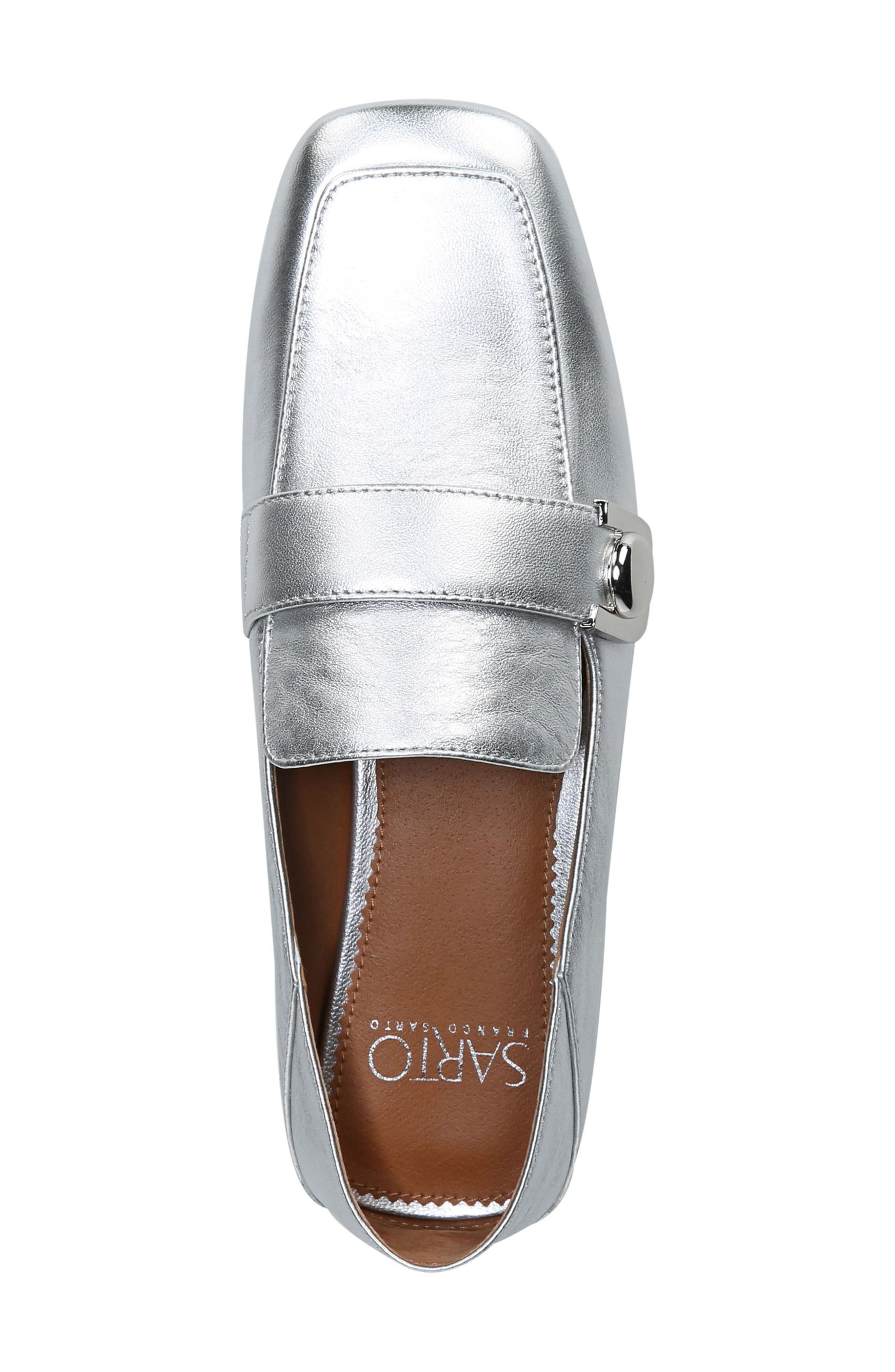 Valeres Loafer,                             Alternate thumbnail 8, color,                             Silver Metallic Leather