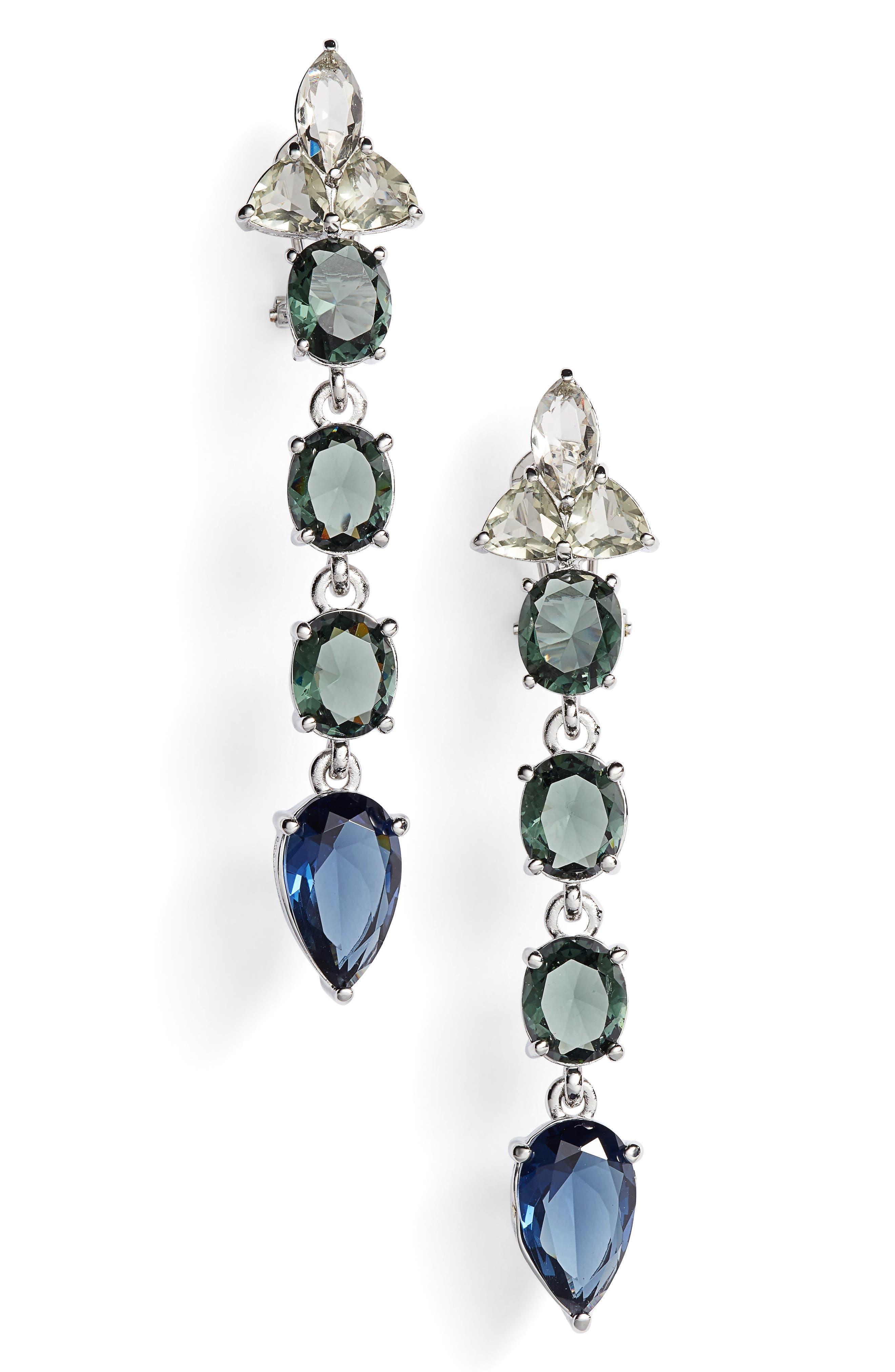 Linear Stone Drop Earrings,                         Main,                         color, Blue Multi/ Silver