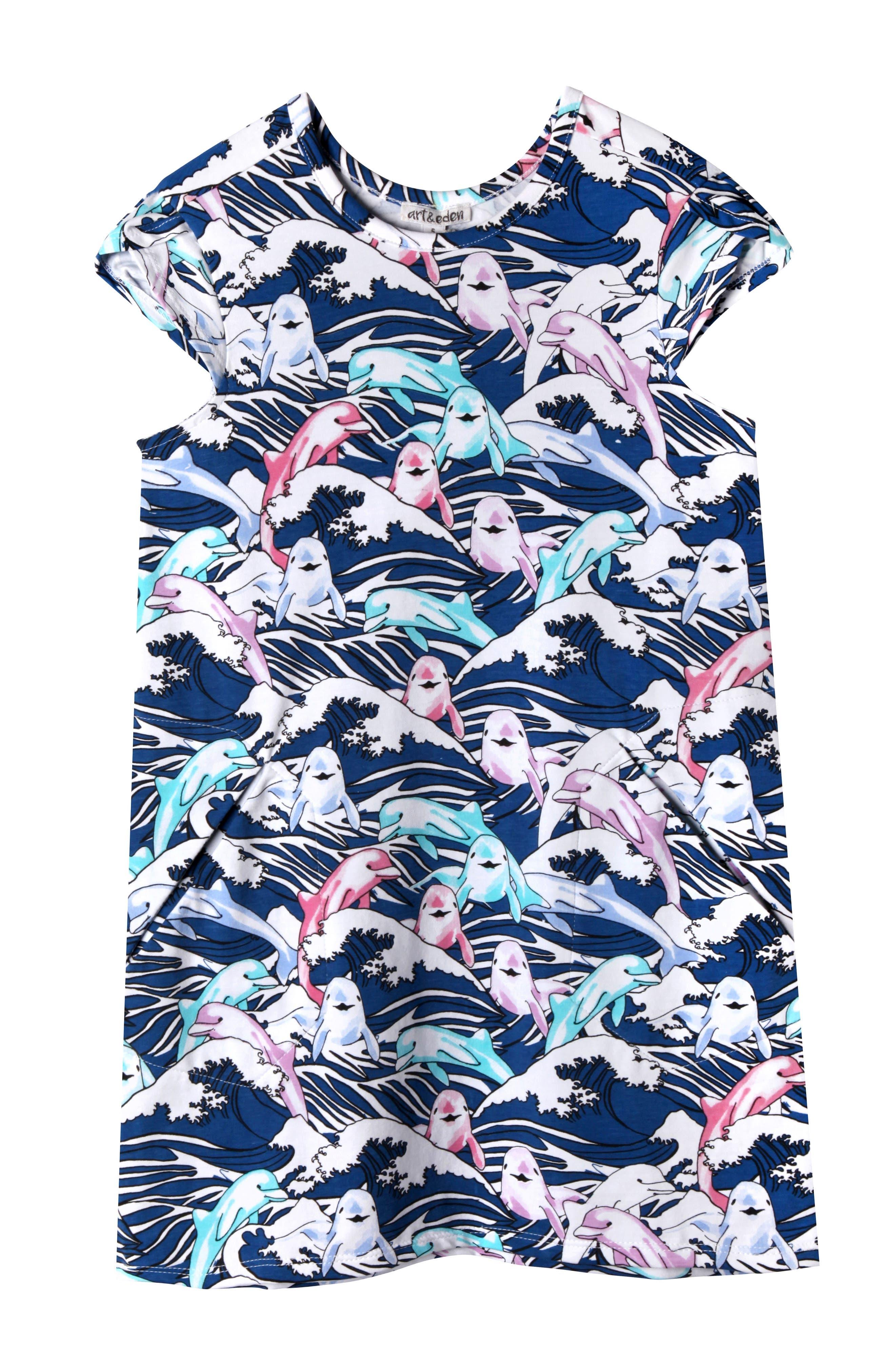 Art & Eden Ivy Great Waves Print Dress (Toddler Girls & Little Girls)