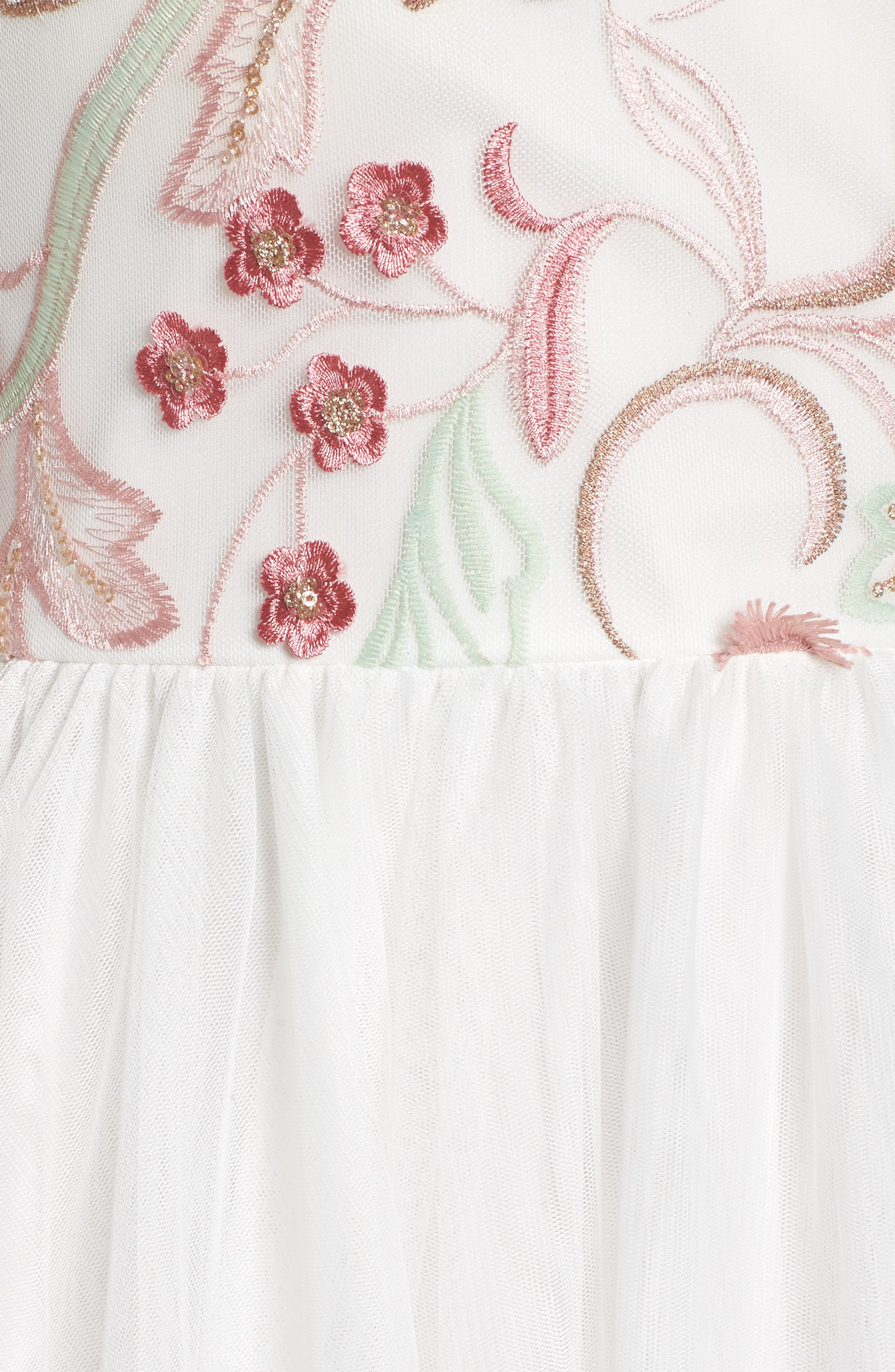 Embroidered Mesh & Tulle Halter Gown,                             Alternate thumbnail 5, color,                             Ivory/ Blush