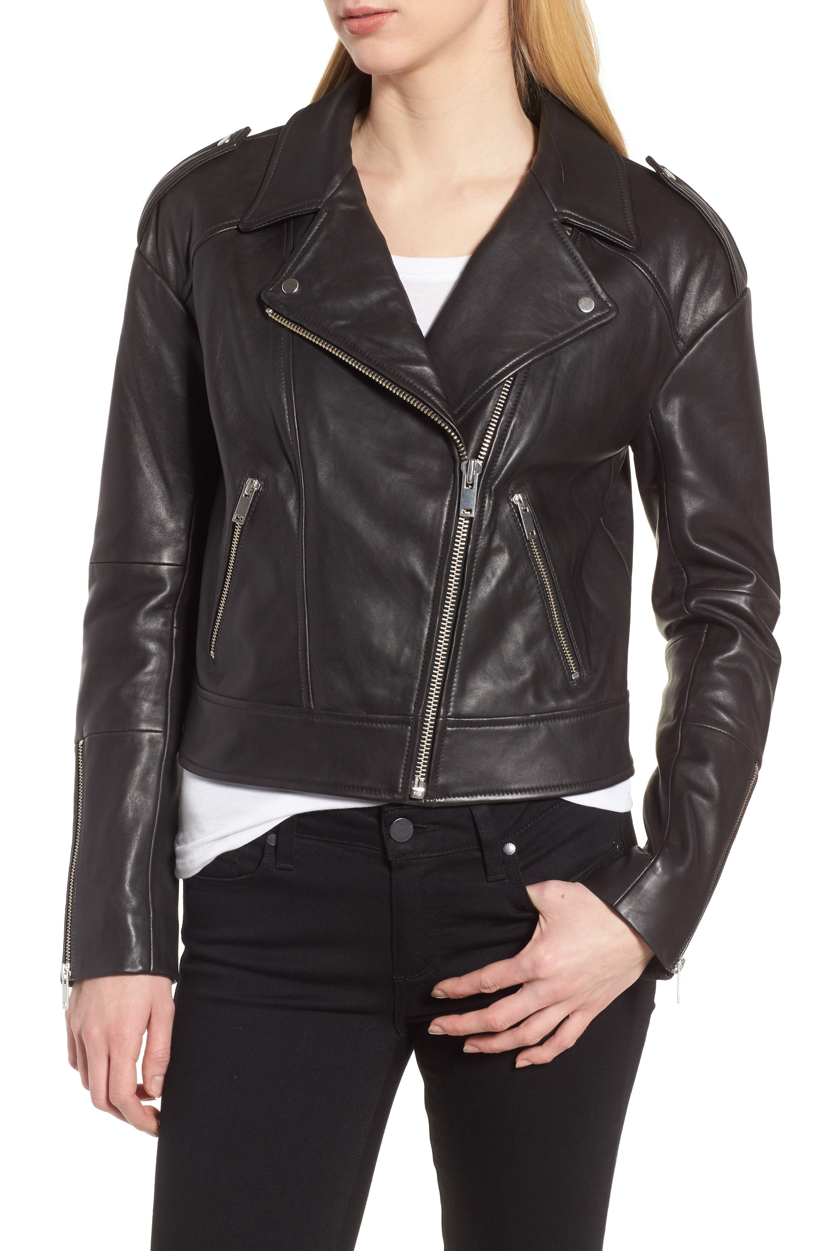 Crop Leather Biker Jacket,                             Alternate thumbnail 4, color,                             Black