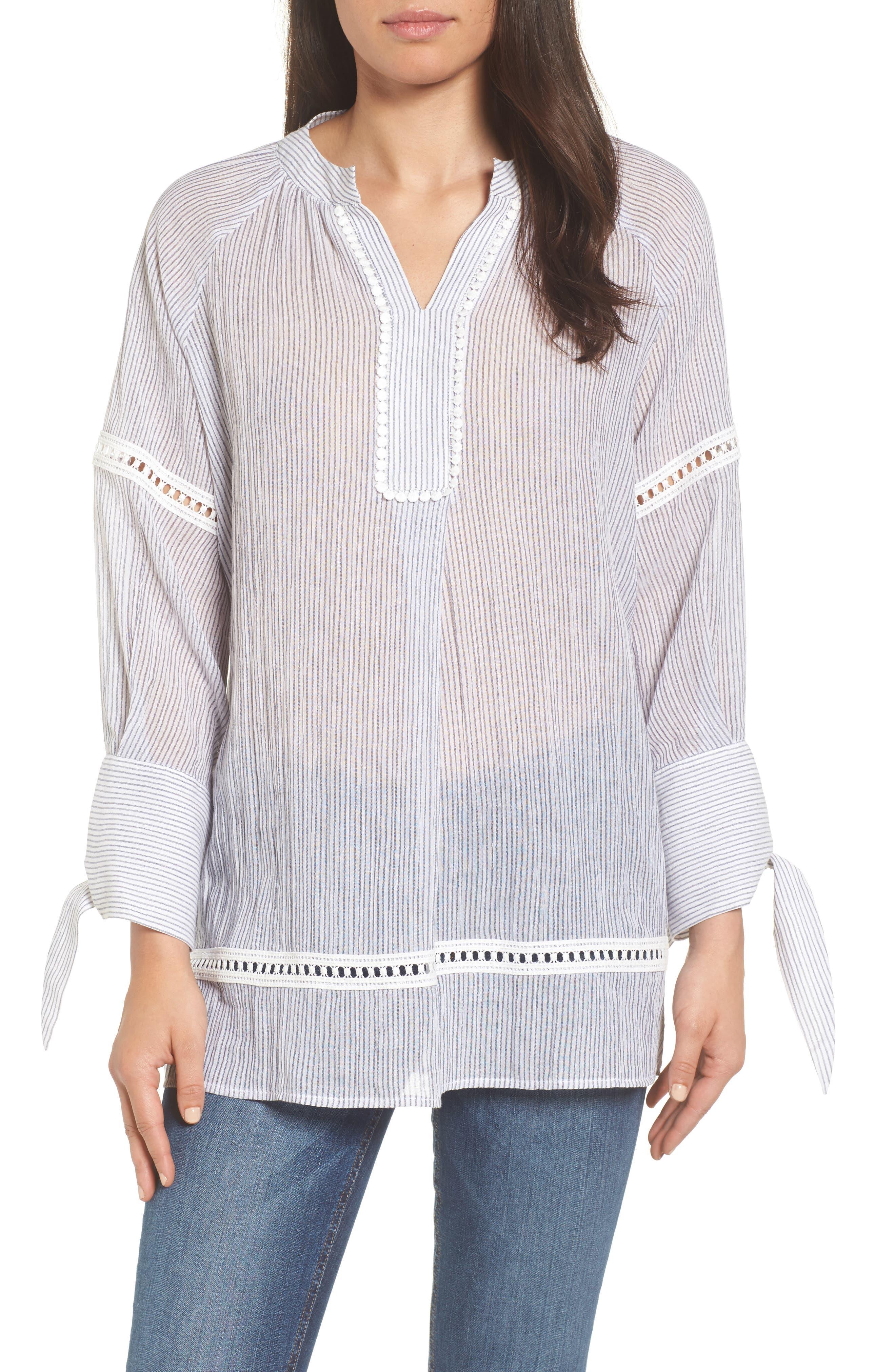 Tie Sleeve Woven Tunic,                             Main thumbnail 1, color,                             Navy- White Stripe