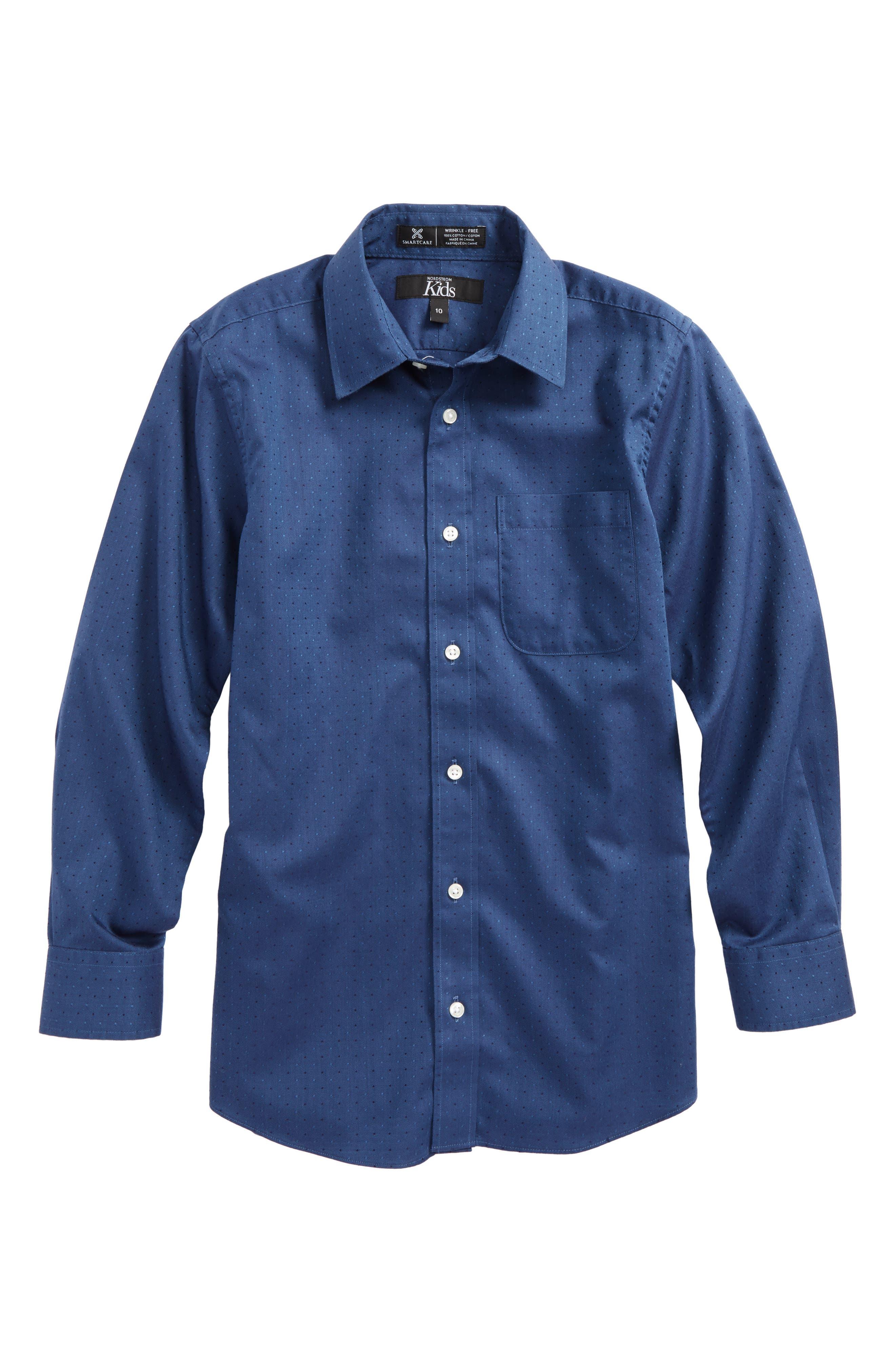 Dot Jacquard Sport Shirt,                         Main,                         color, Navy Denim Neat Dot