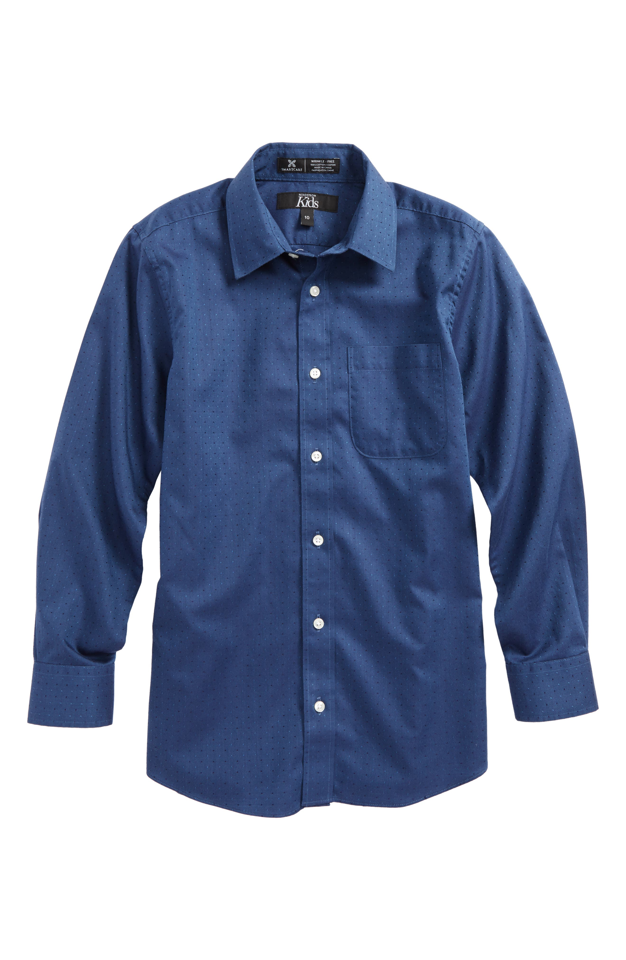 Dot Jacquard Sport Shirt,                         Main,                         color, Navy Denim Neat Dot