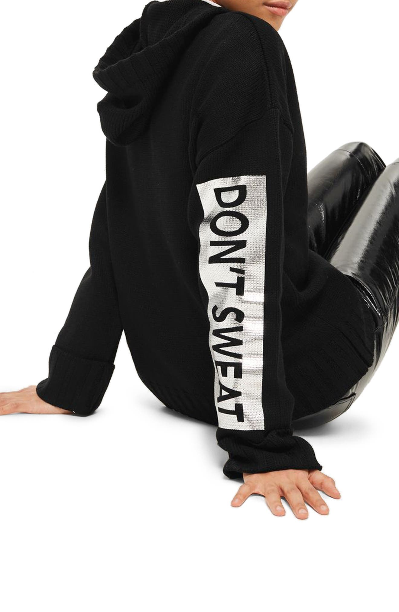 Don't Sweat Knit Hoodie,                             Alternate thumbnail 3, color,                             Black Multi