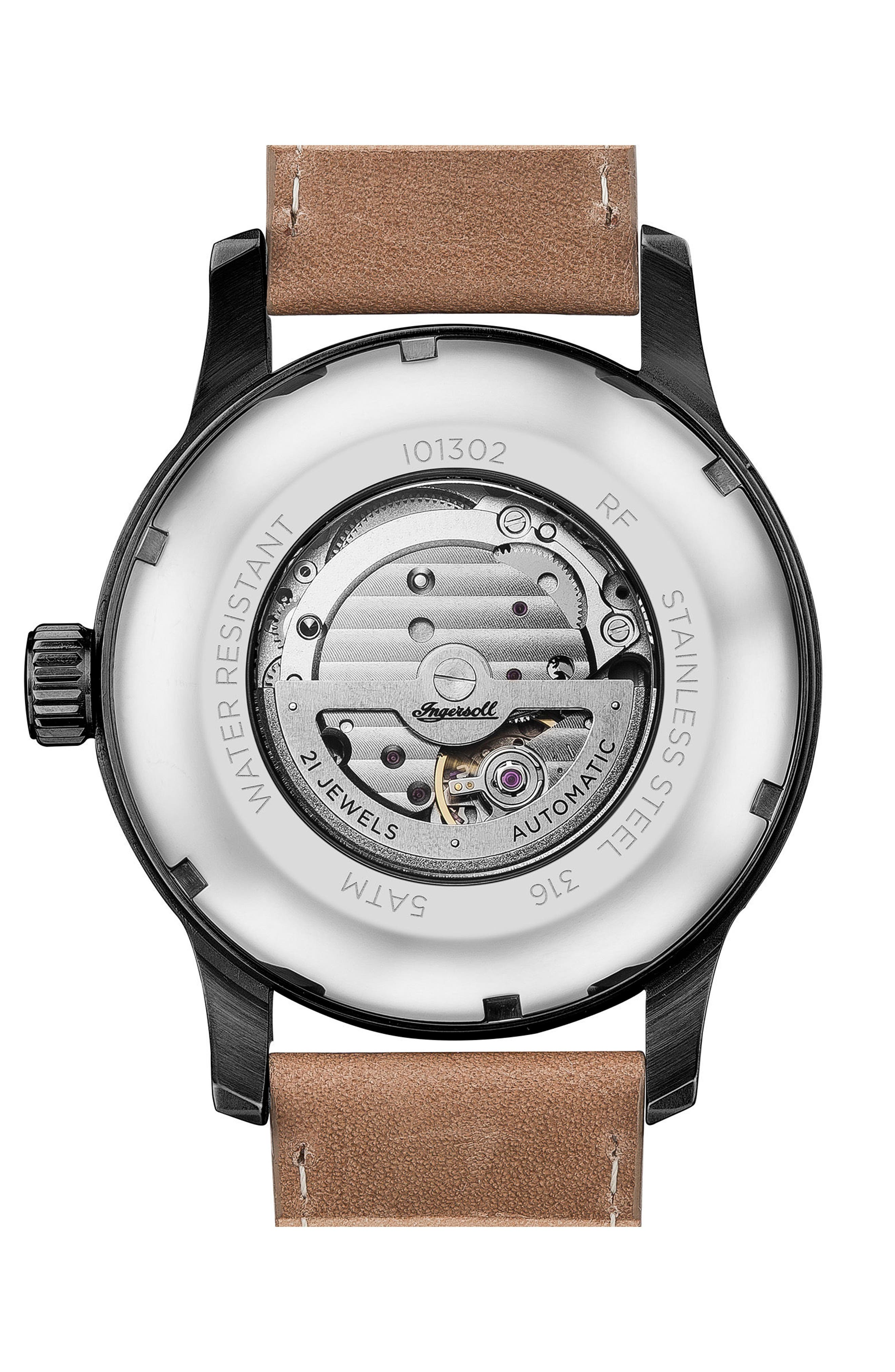 Ingersoll Hatton Automatic Leather Strap Watch, 46mm,                             Alternate thumbnail 2, color,                             Brown/ Black