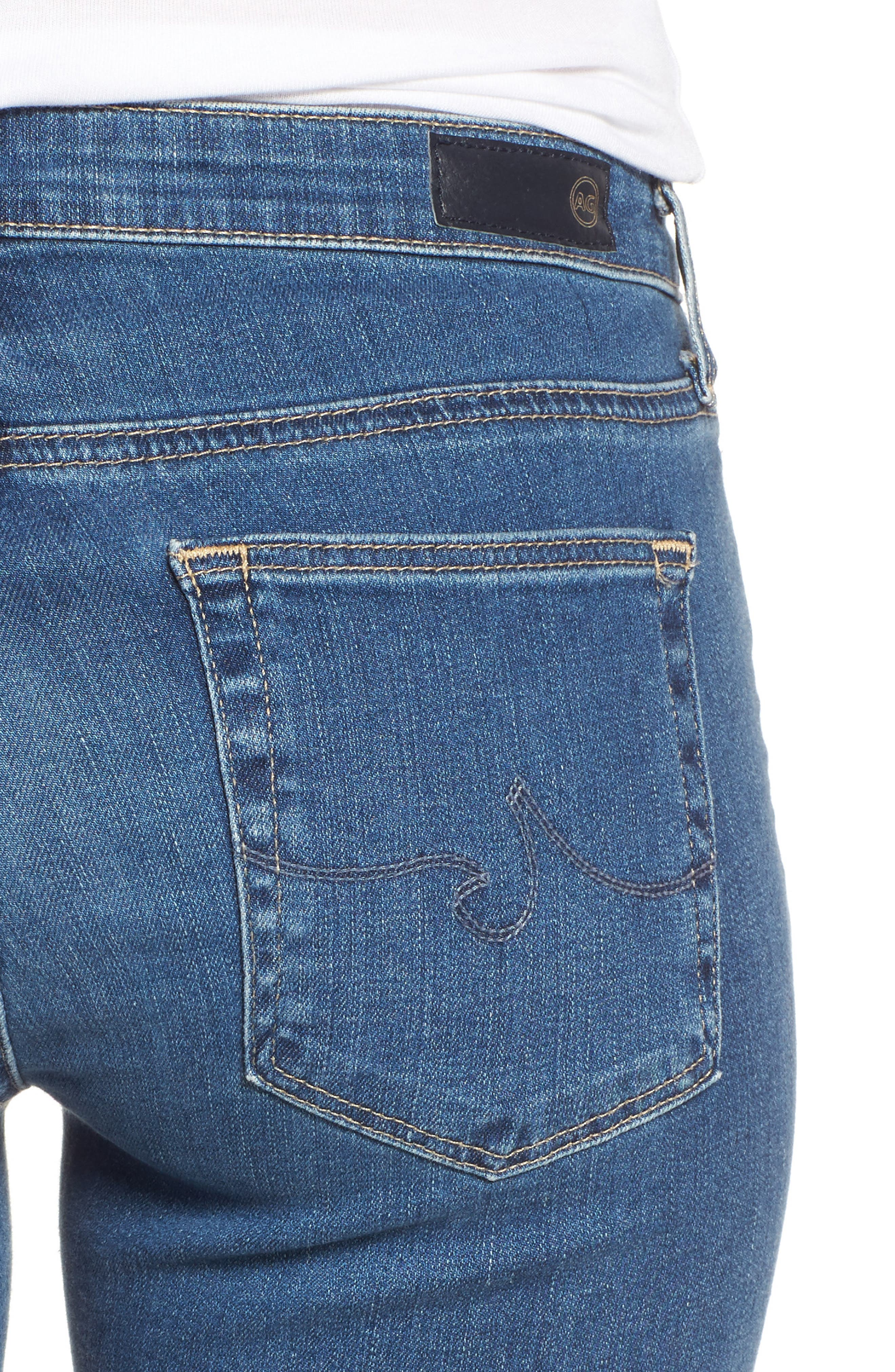 Prima Crop Skinny Jeans,                             Alternate thumbnail 4, color,                             Indigo Viking